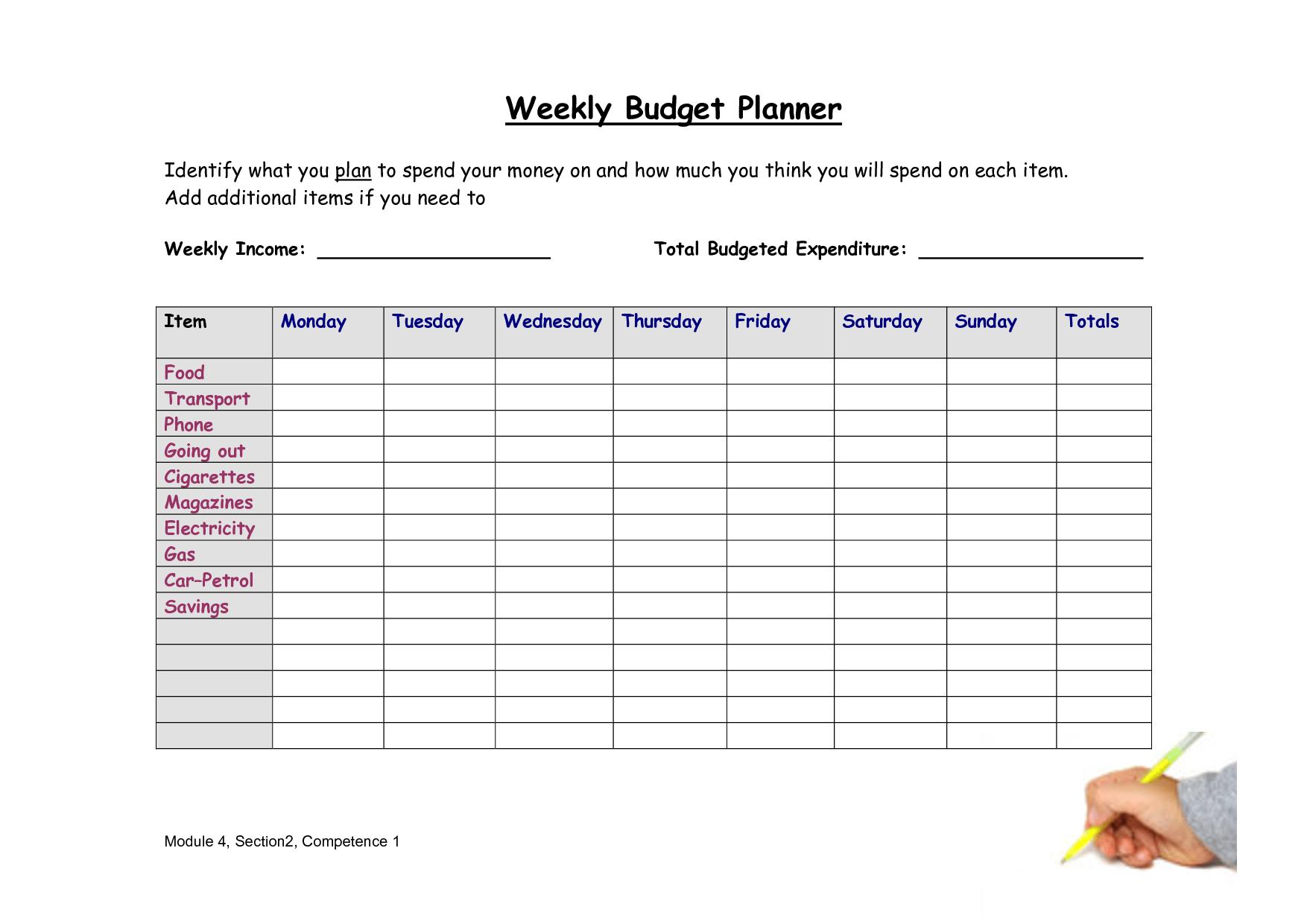 8 Best Images Of Weekly Budget Worksheet Free Printable