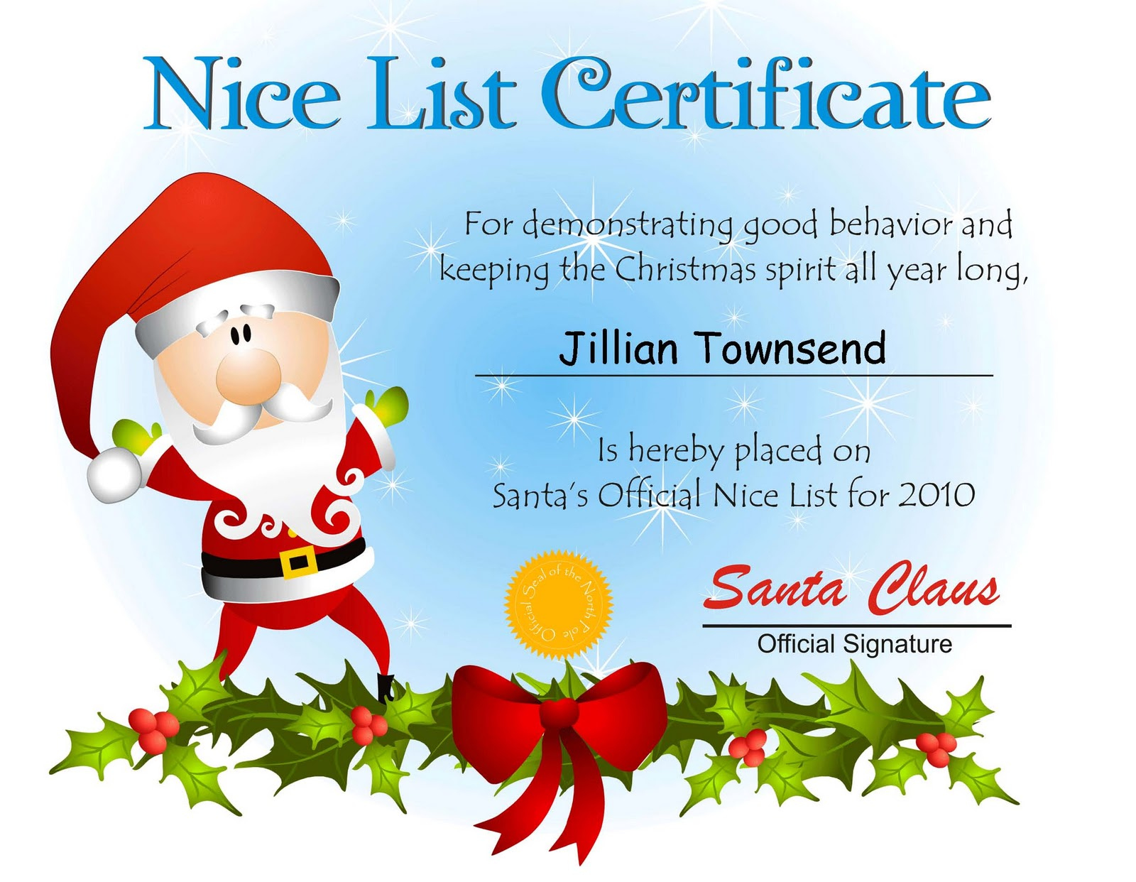 photograph about Printable Santa Nice List Certificate identified as Santa Claus Certification Template. letters upon pinterest