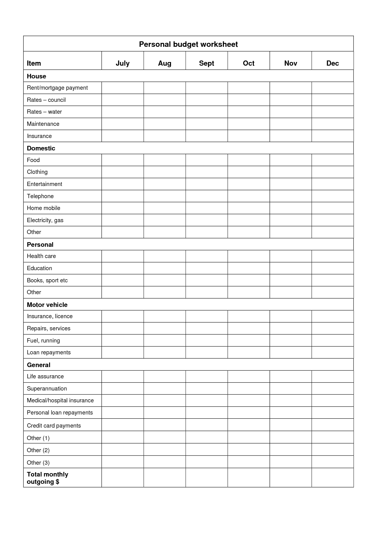 6 Best Images Of Free Personal Budget Worksheet Printable