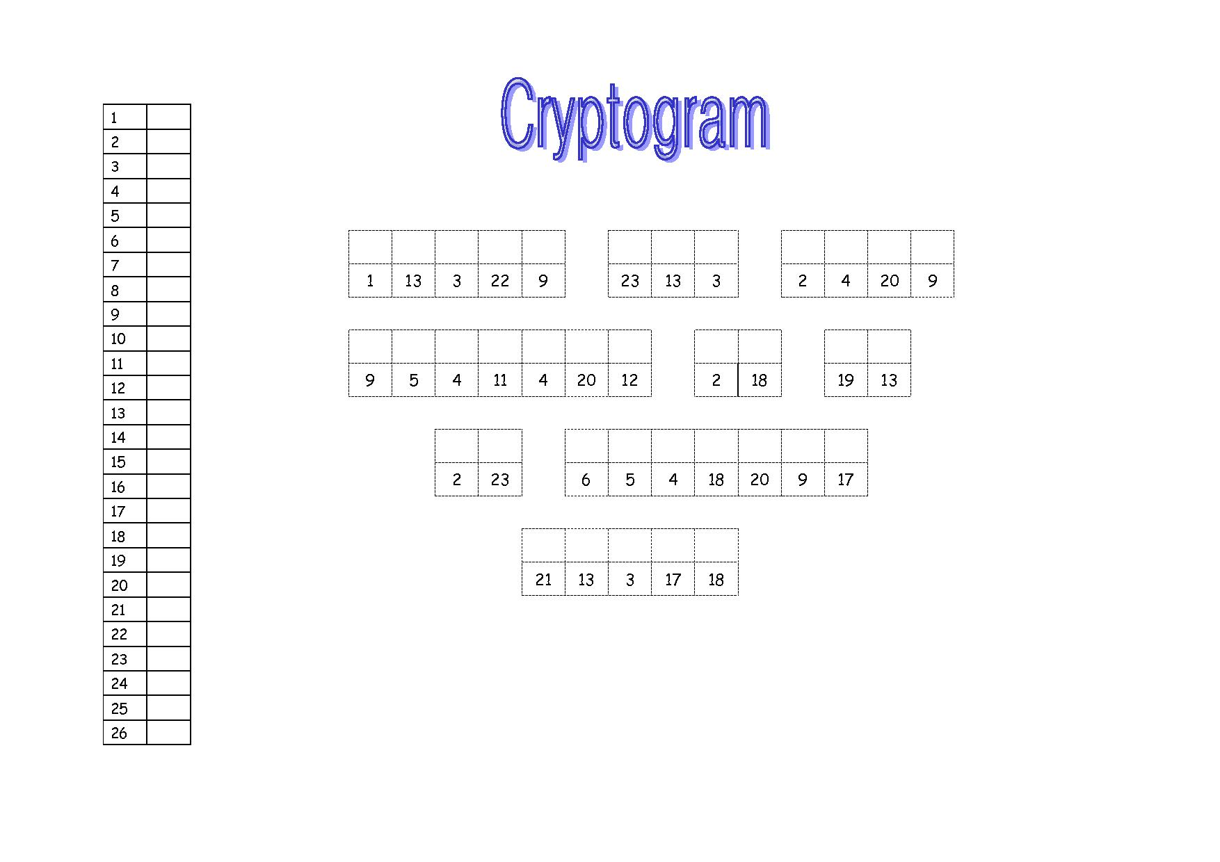 Free Printable Cryptograms Worksheets