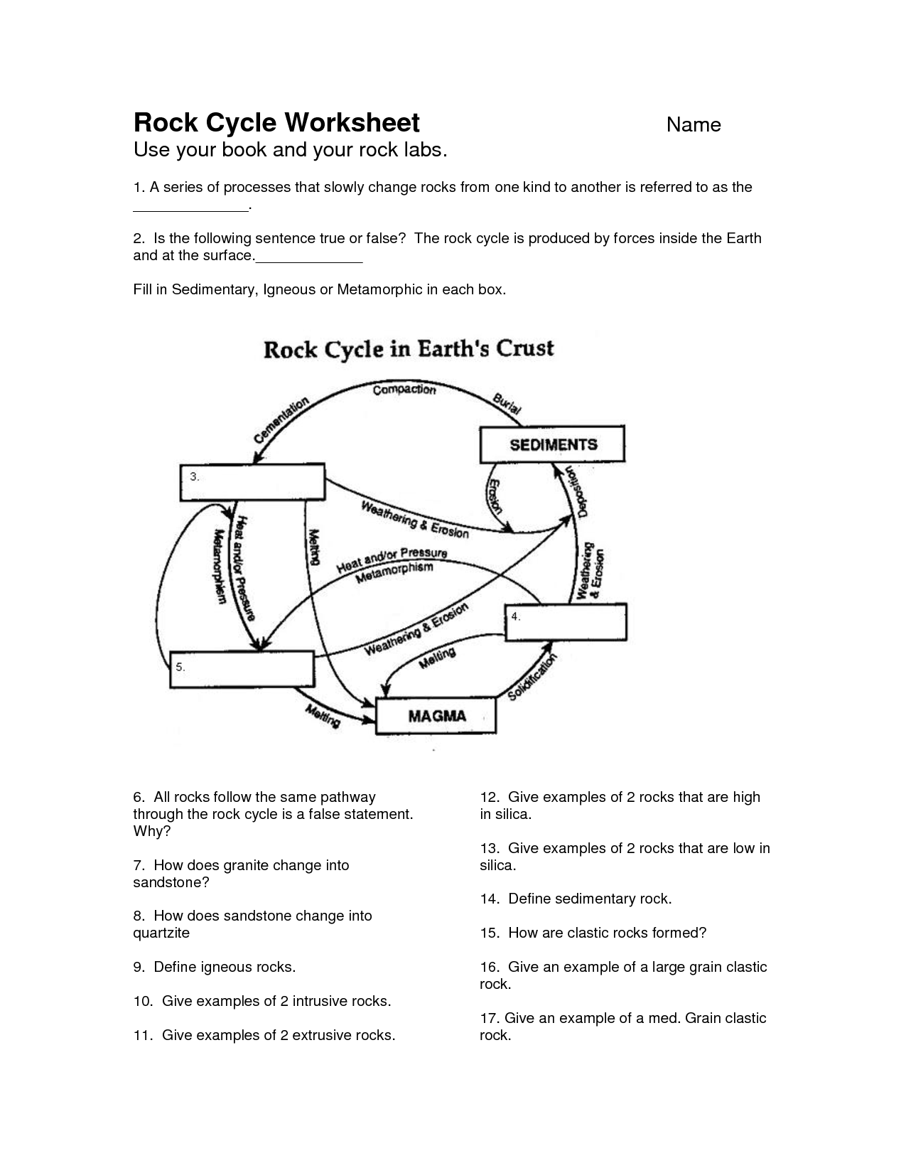7 Best Images Of Printable Rock Cycle Worksheets