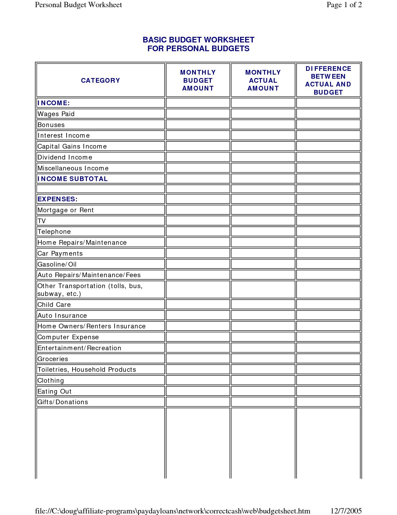 6 Best Images Of Basic Budget Worksheet Printable
