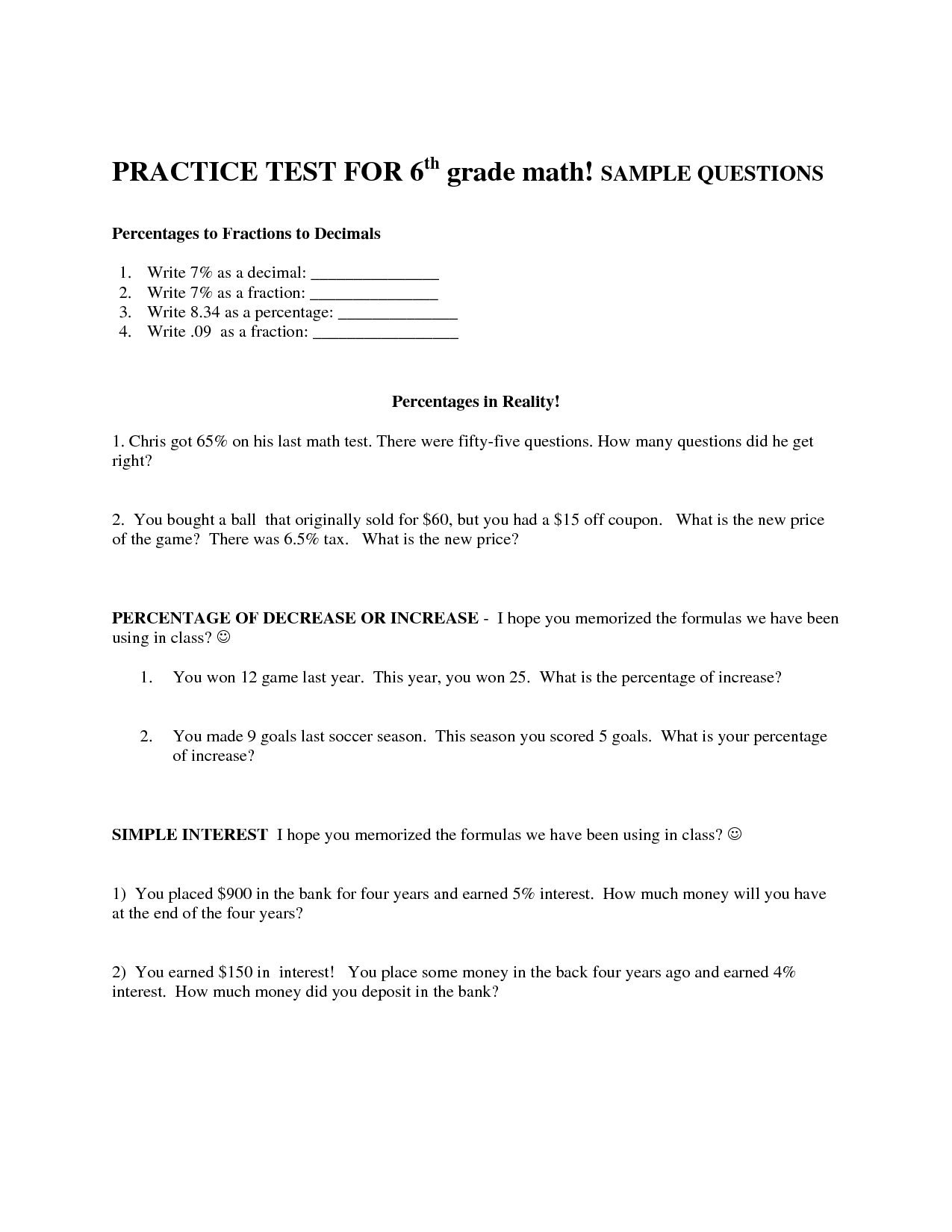 7 Best Images Of 6th Grade Math Test Printable