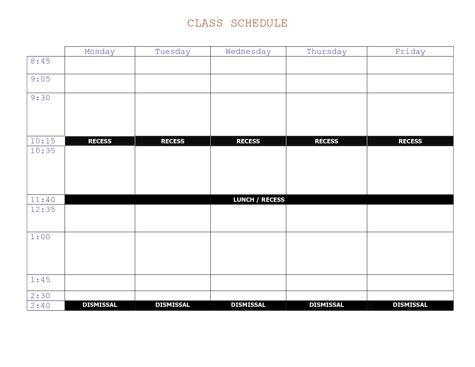 college class schedule template vertom