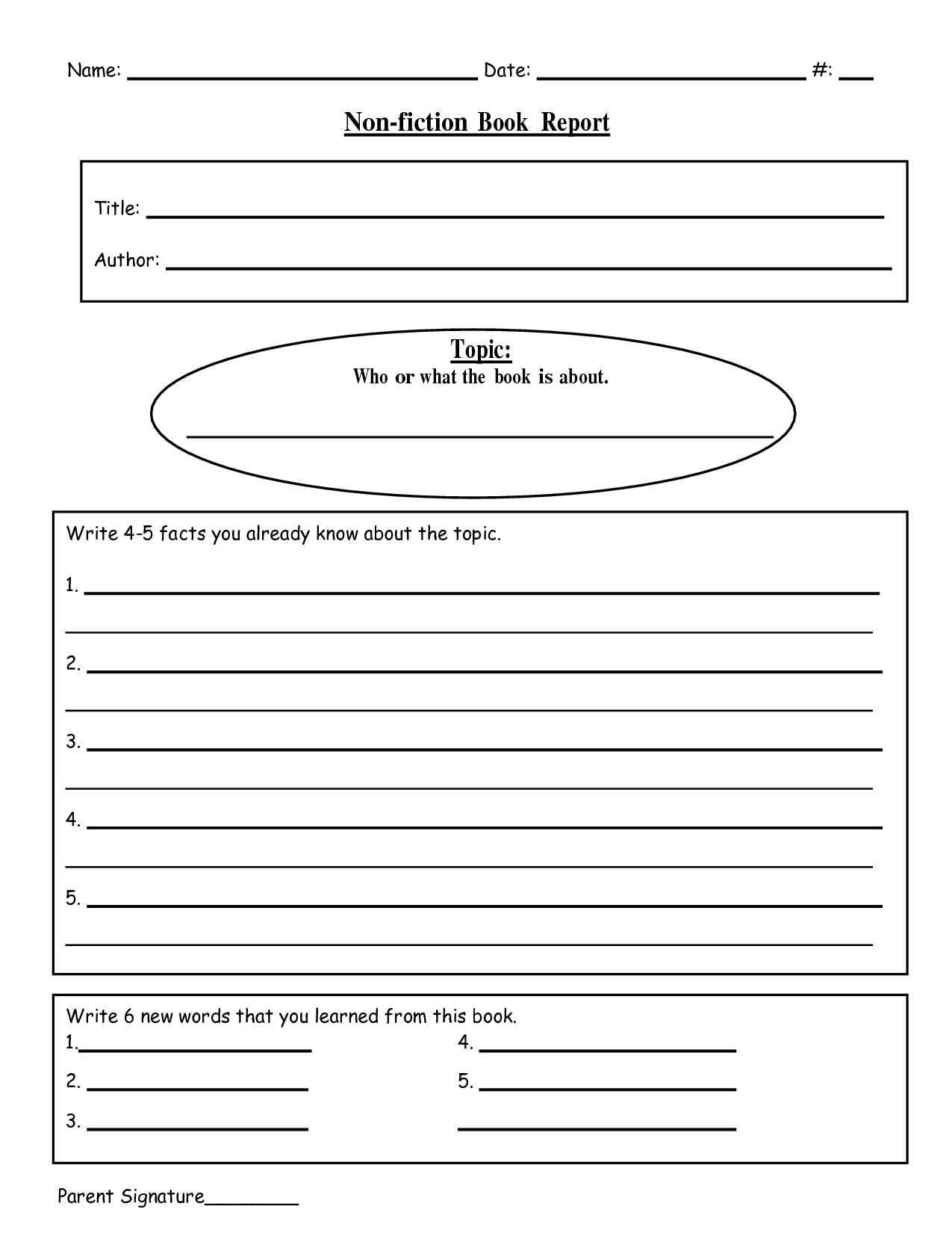9 Best Images Of Nonfiction Book Report Forms Printable