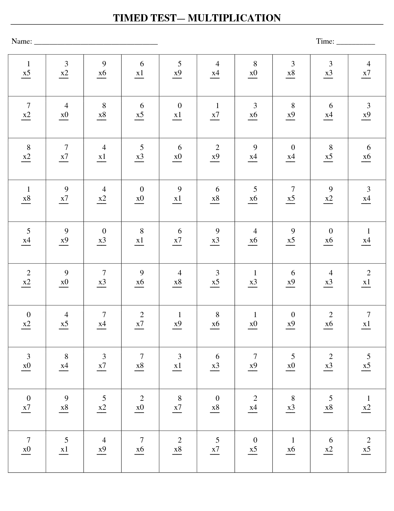 Timed Multiplication Worksheets Free Worksheets Library