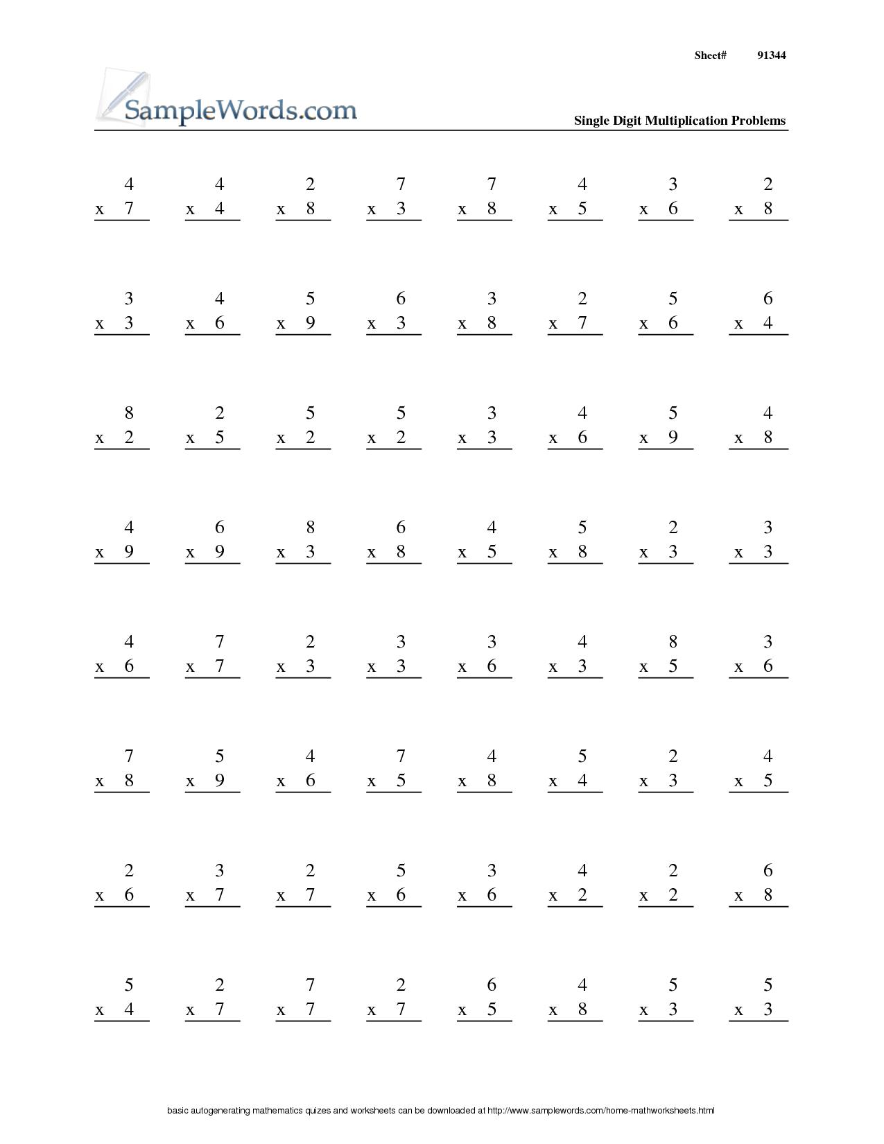5 Best Images Of 3rd Grade Math Worksheets Multiplication