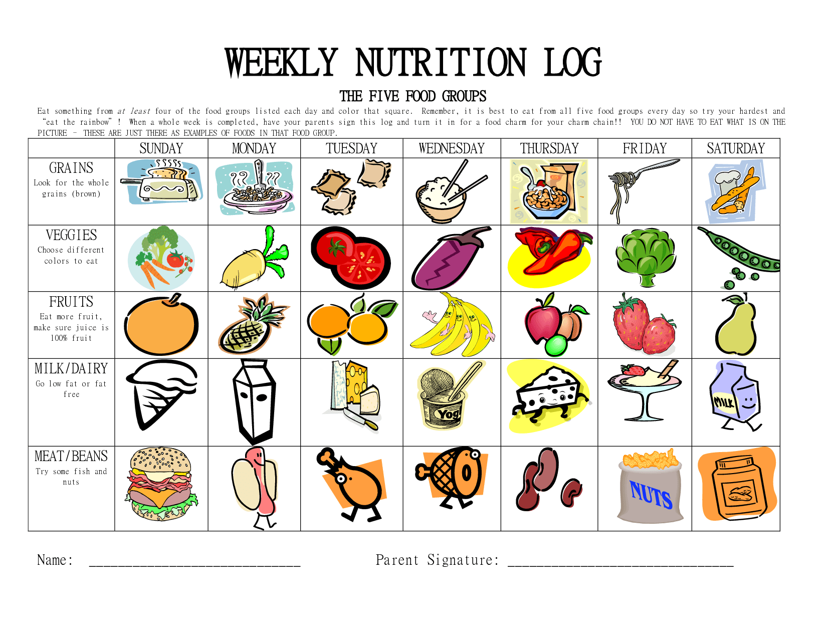 Free Printable Food Group Worksheet