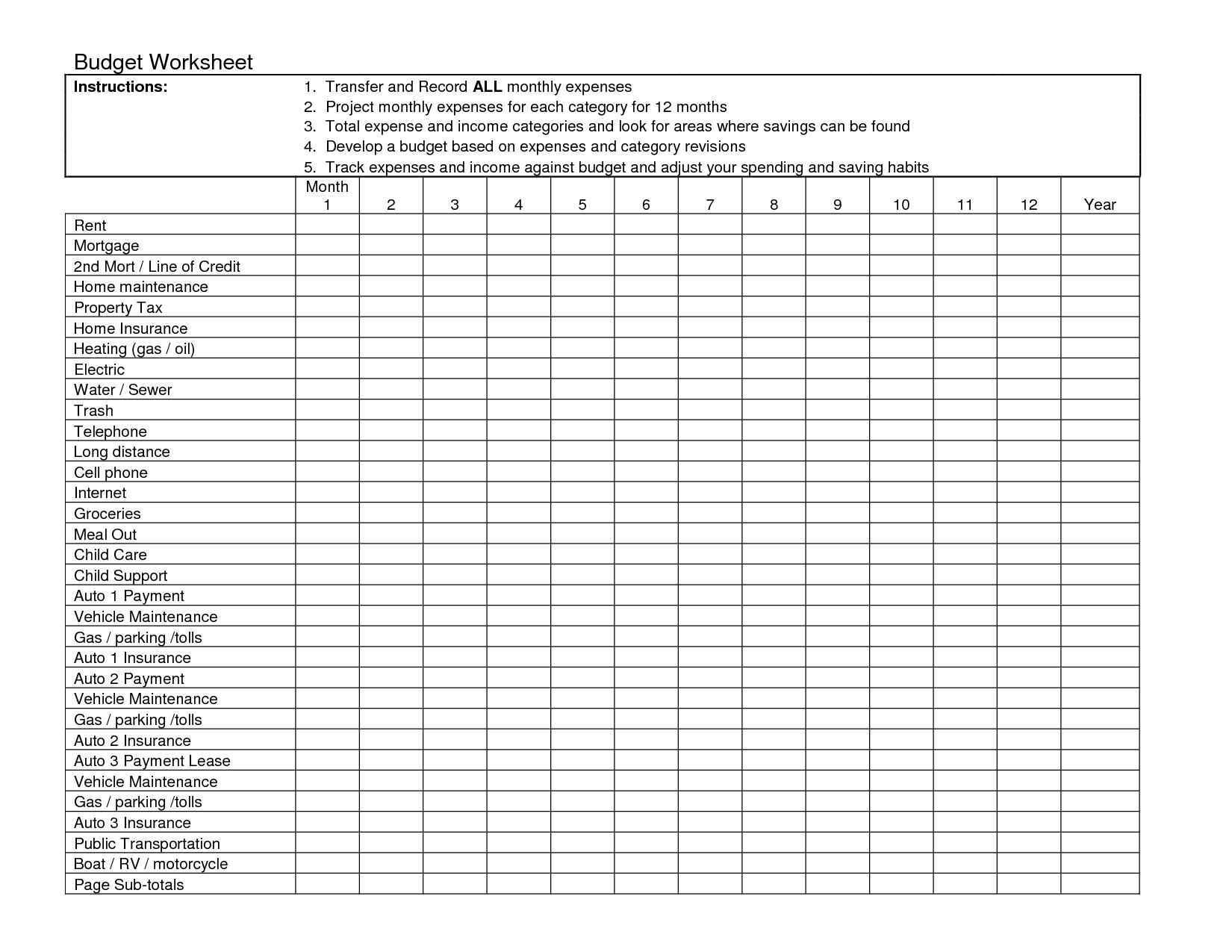 9 Best Images Of Free Printable Blank Expense Worksheet