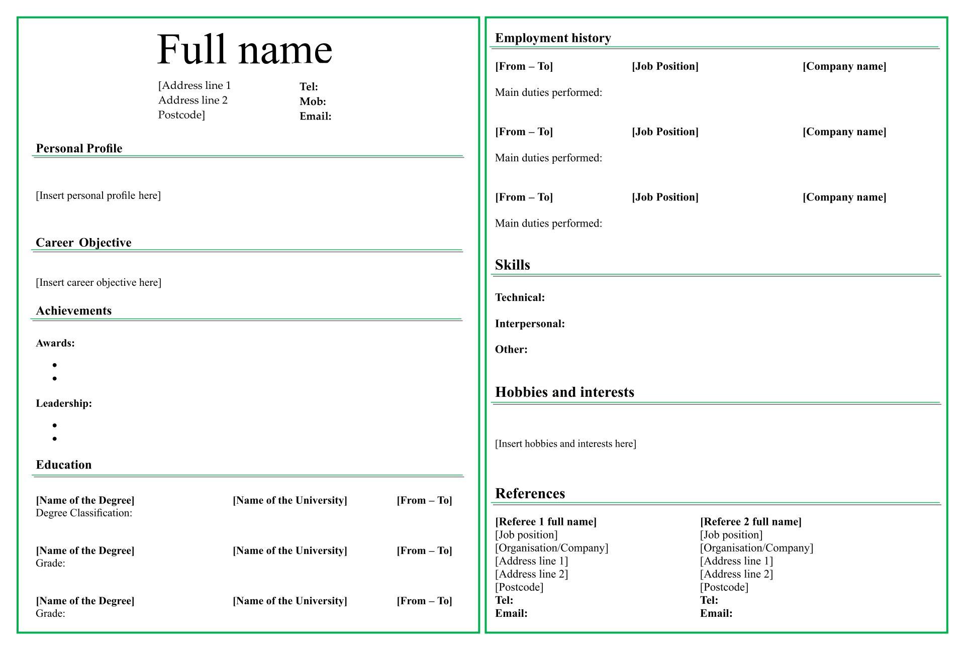 7 Best Fill In Blank Printable Resume