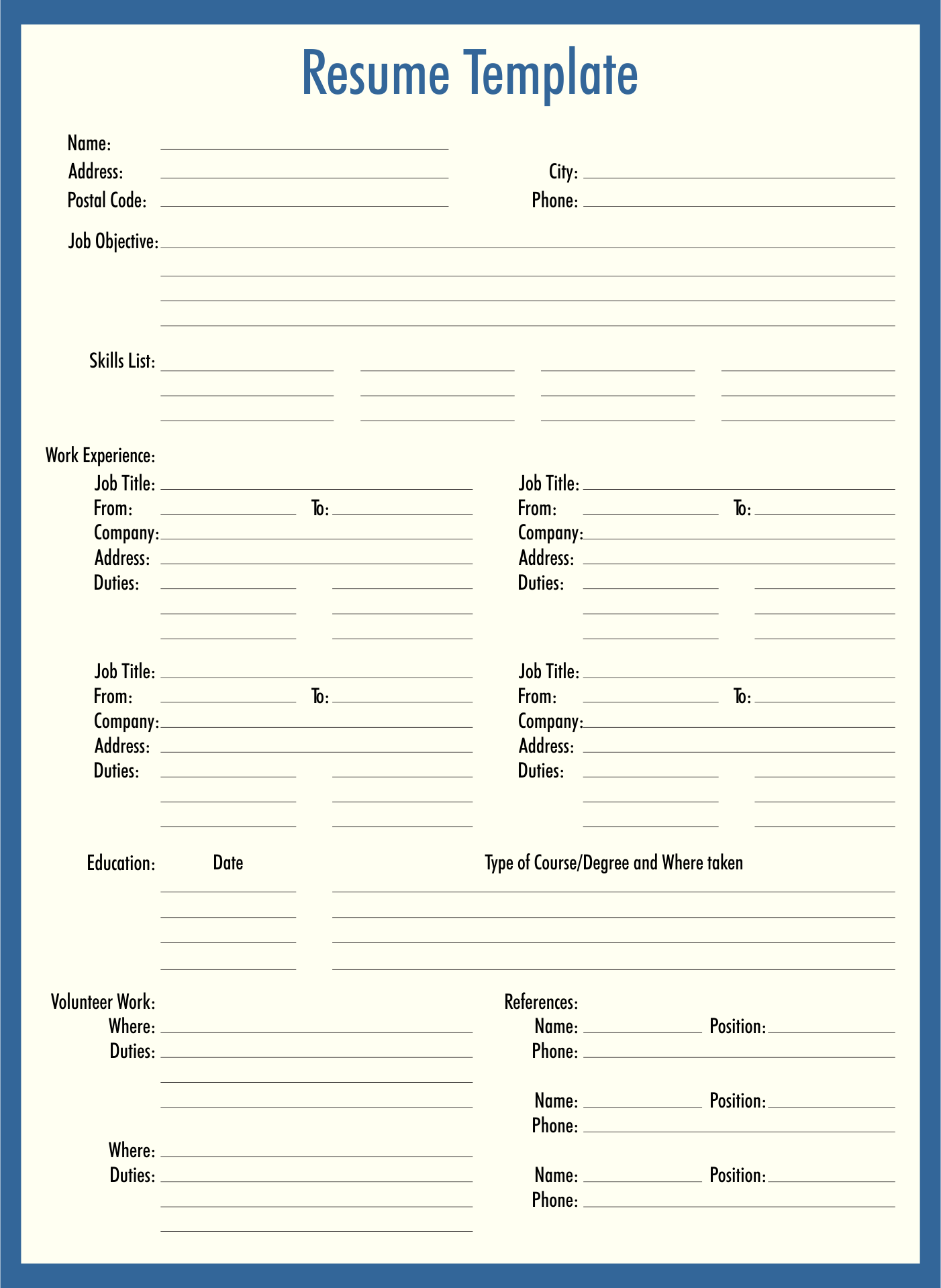 7 Best Images Of Fill In Blank Printable Resume