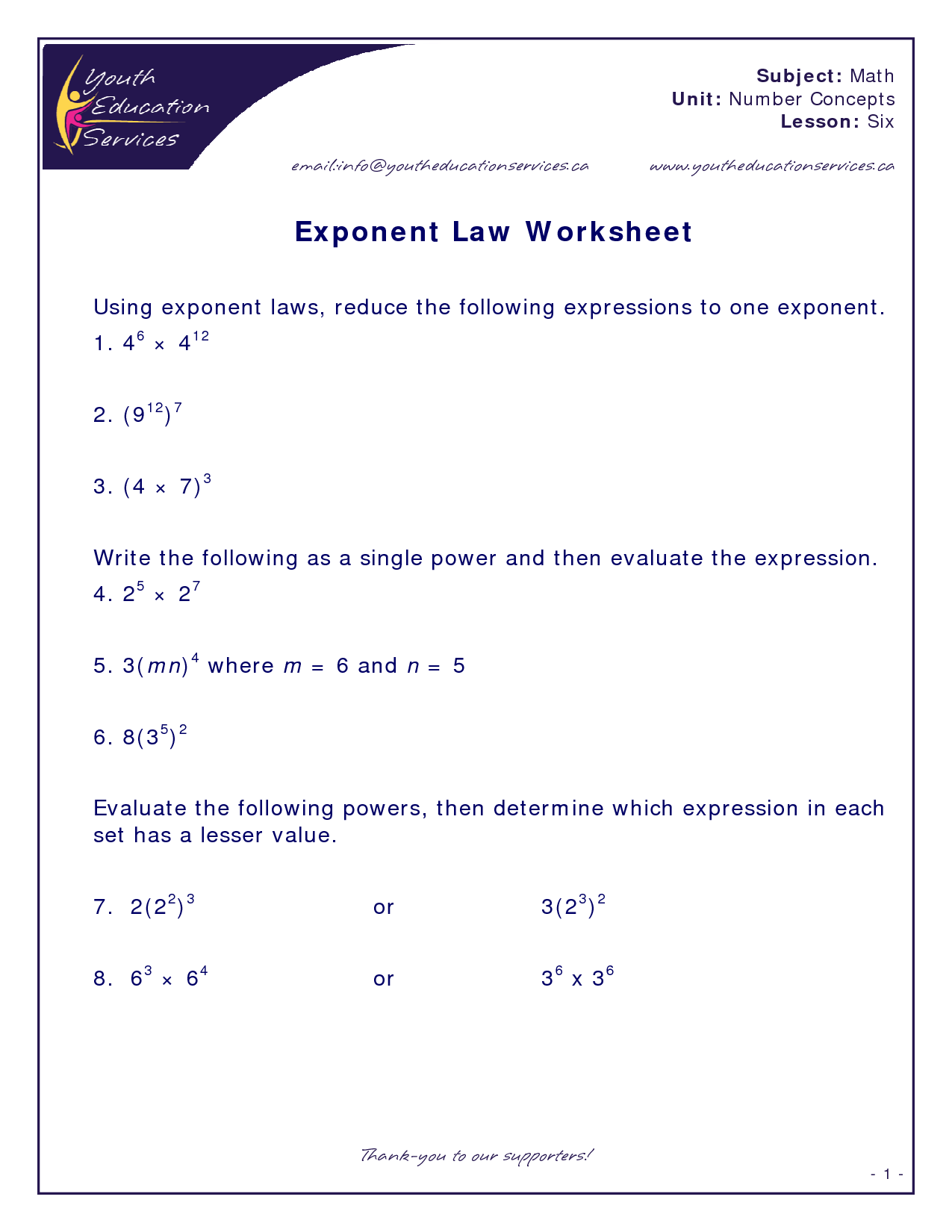 Exponent Product Rule Worksheet