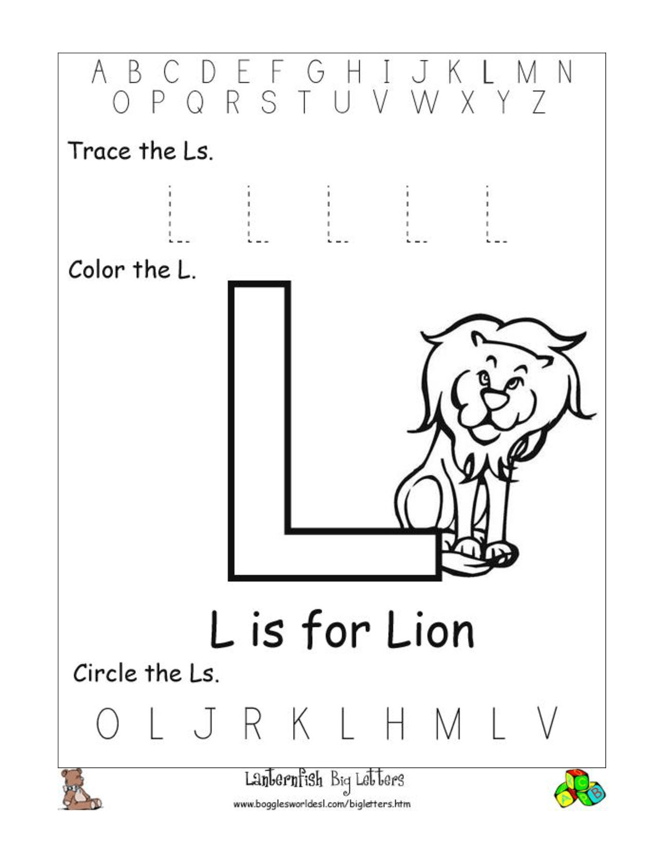 Worksheets Letter L Worksheets For Preschool letter l worksheet delibertad preschool worksheets