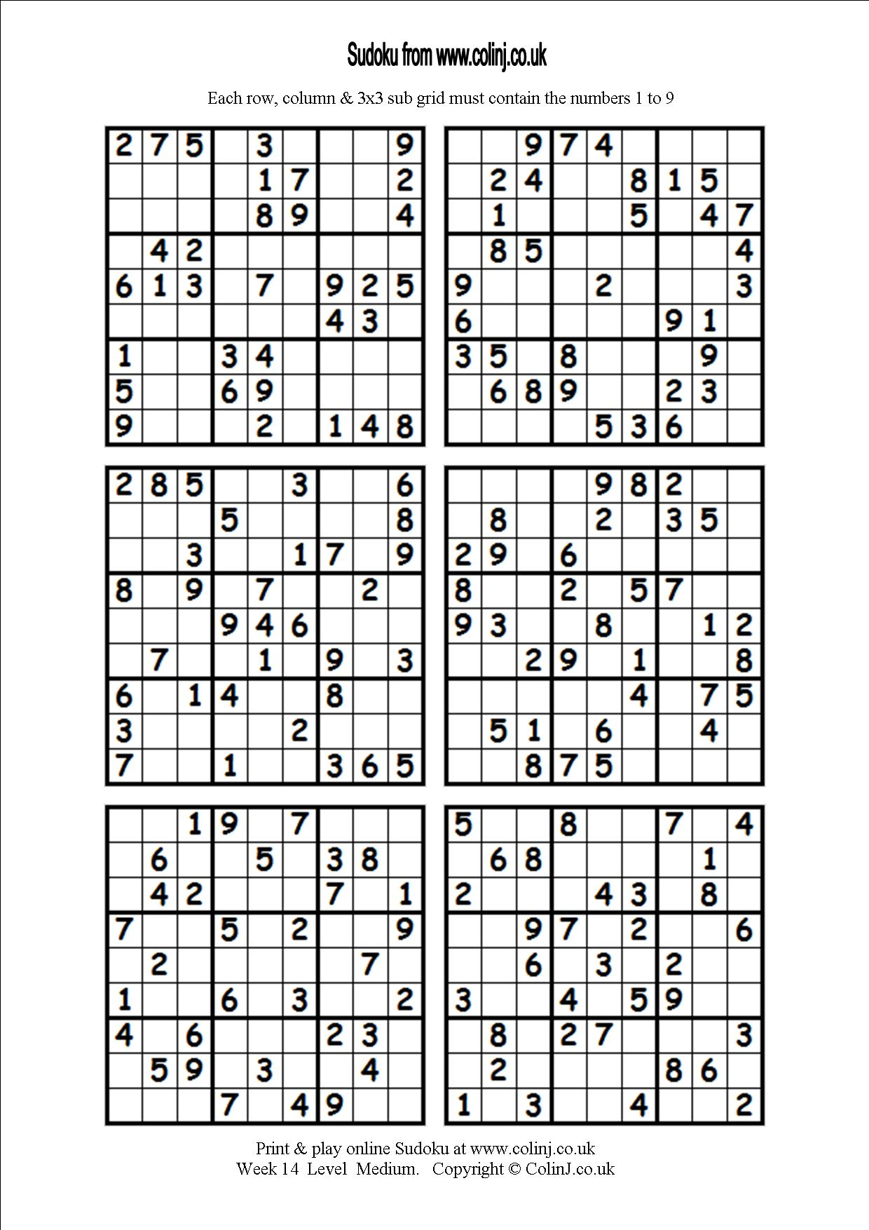 4 Best Images Of Medium Printable Sudoku Puzzles 4 Per