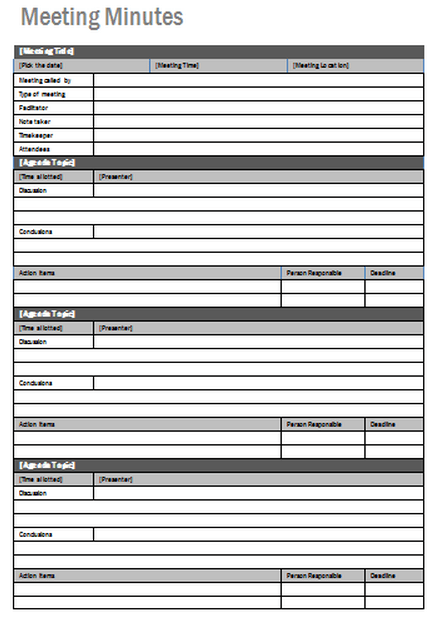 Doc800625 Meeting Note Taking Template Taking Great Meeting – Microsoft Word Note Taking Template