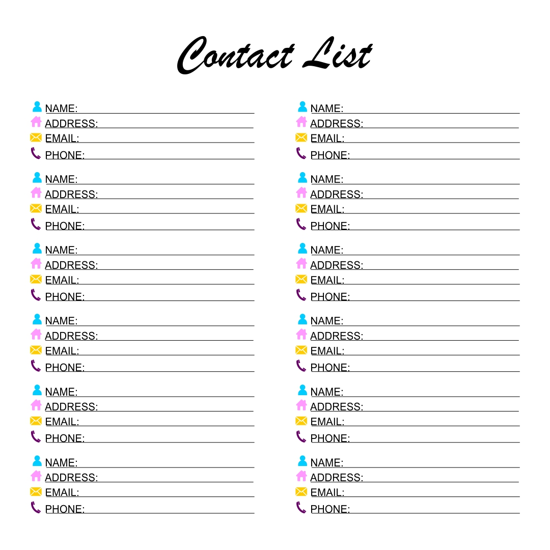 Doc600800 Phone Number List Template phone number list – Contacts List Template