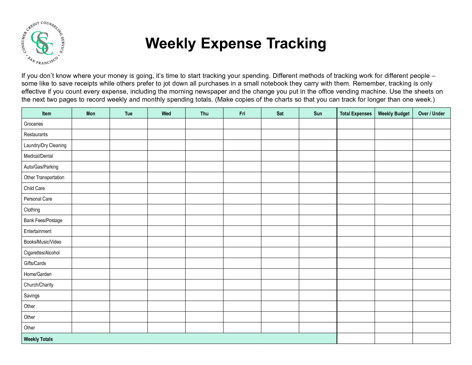 6 Best Images Of Printable Household Expense Sheet