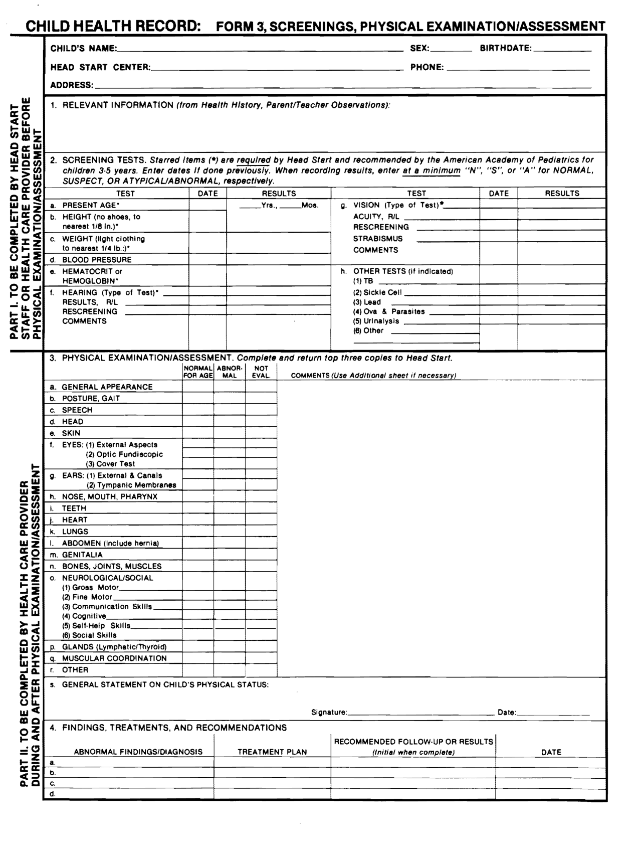 7 Best Images Of Head Start Forms Printable
