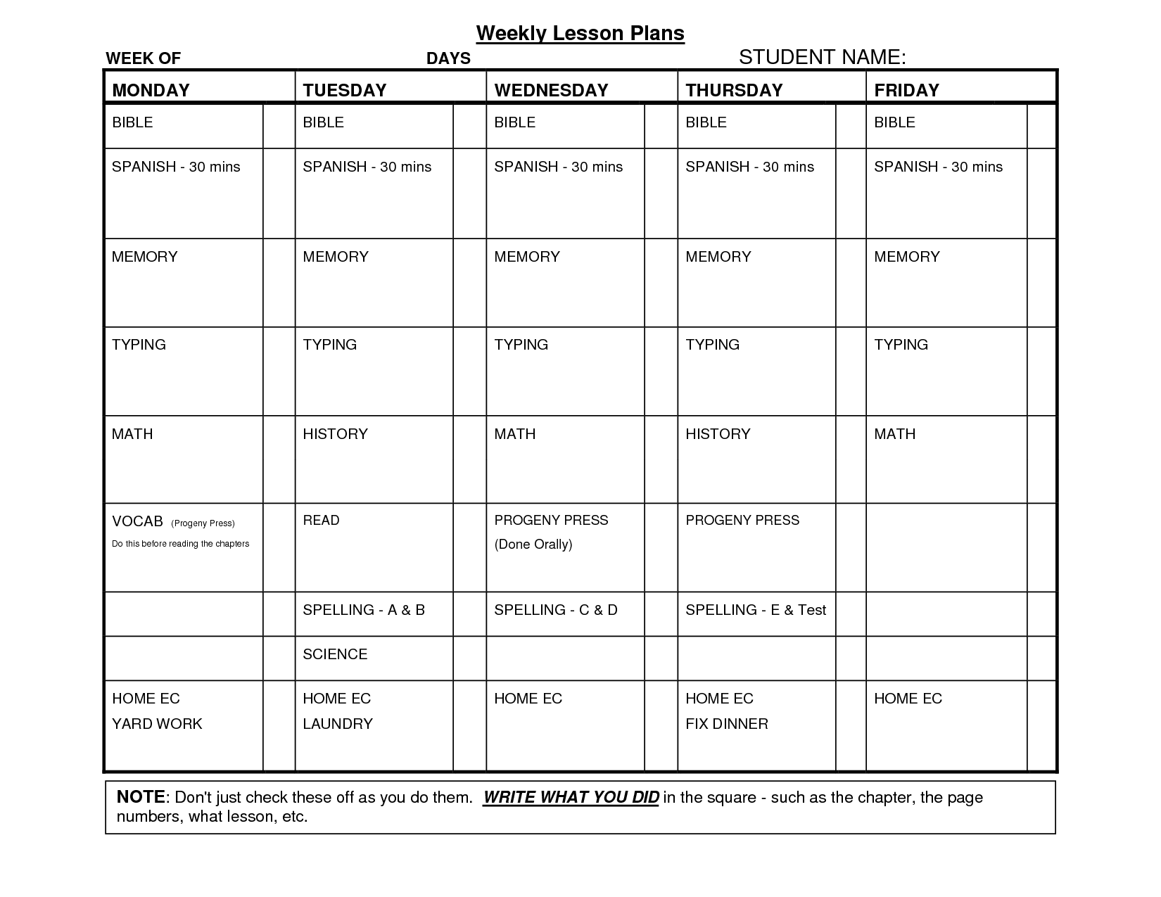 Free Printable School Assignments