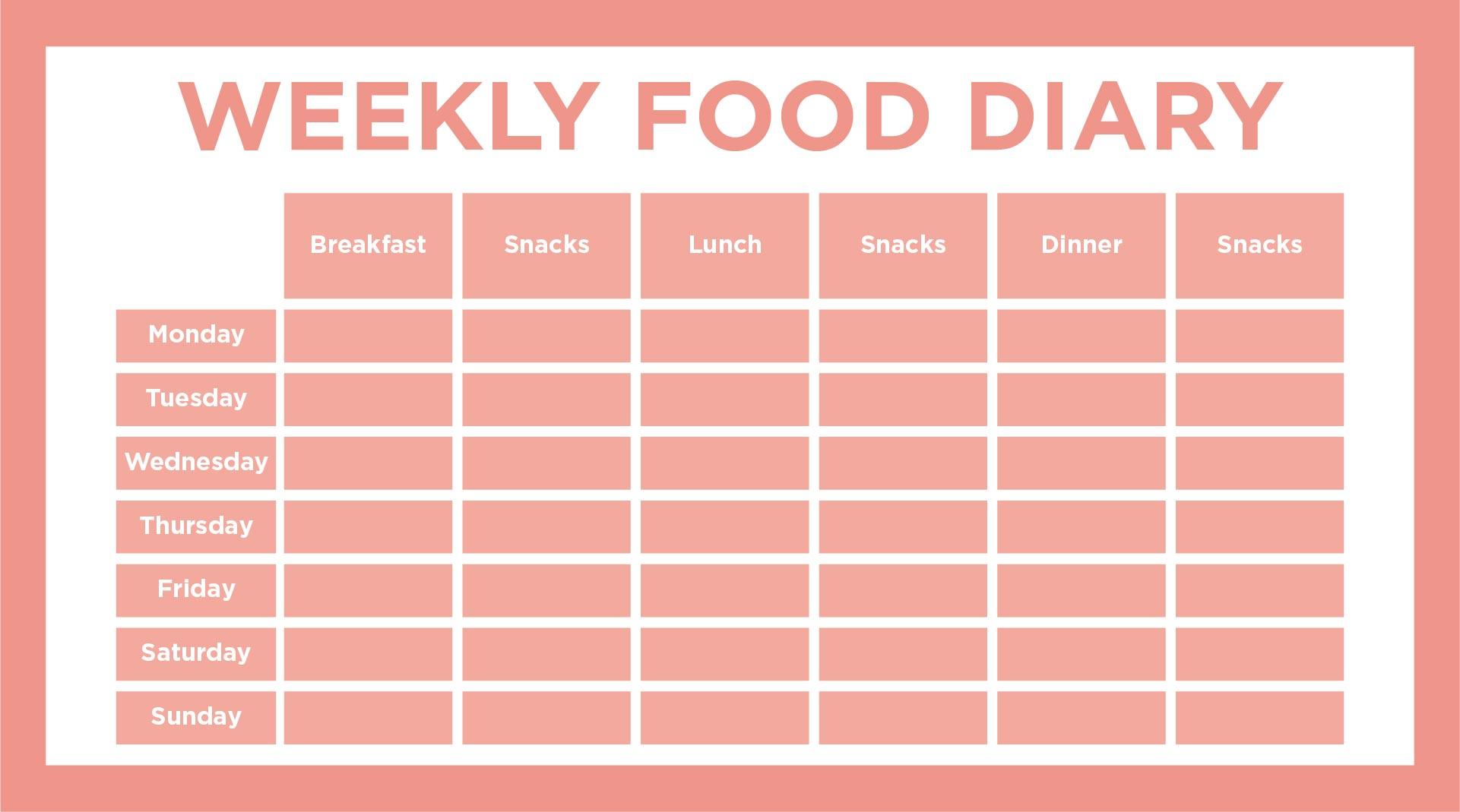 Free Food Diary Template 7 diary template memo formats food – Sample Food Diary Template