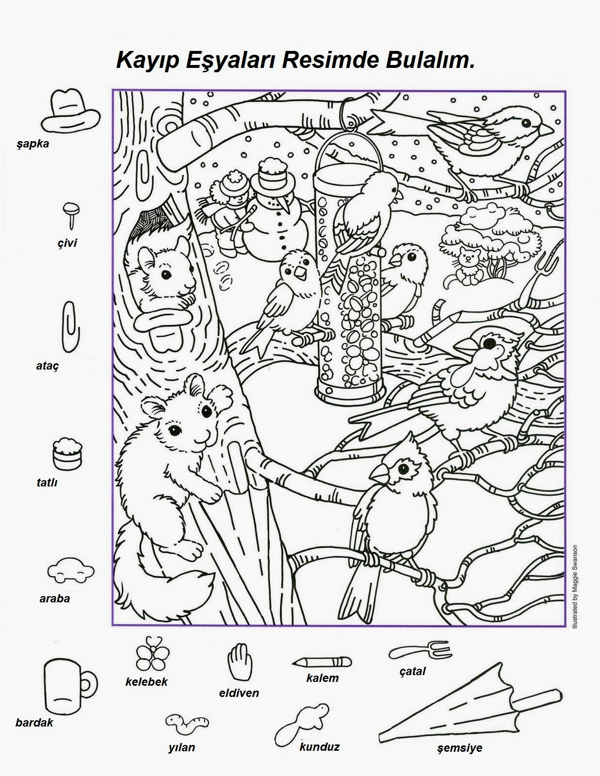 Free Printable Hidden Object Puzzles Sketch Coloring Page