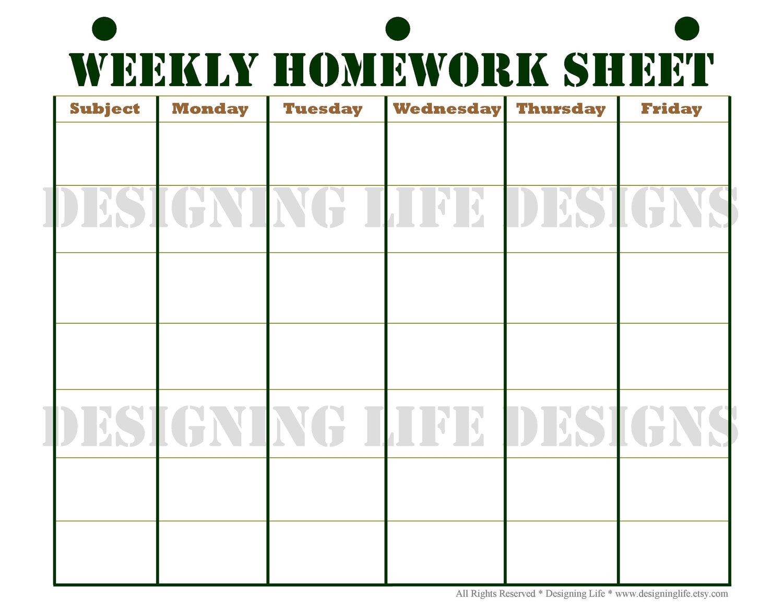 High School Student Schedule Template