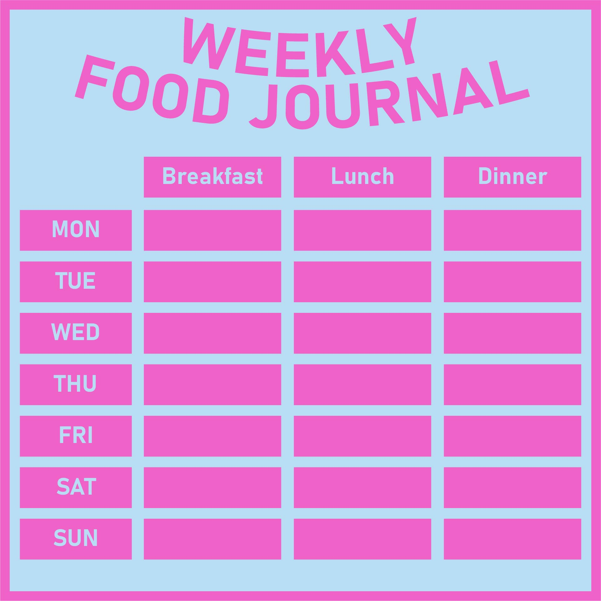 7 Best Images Of Printable 7 Day Food Log 5 Meals A Day