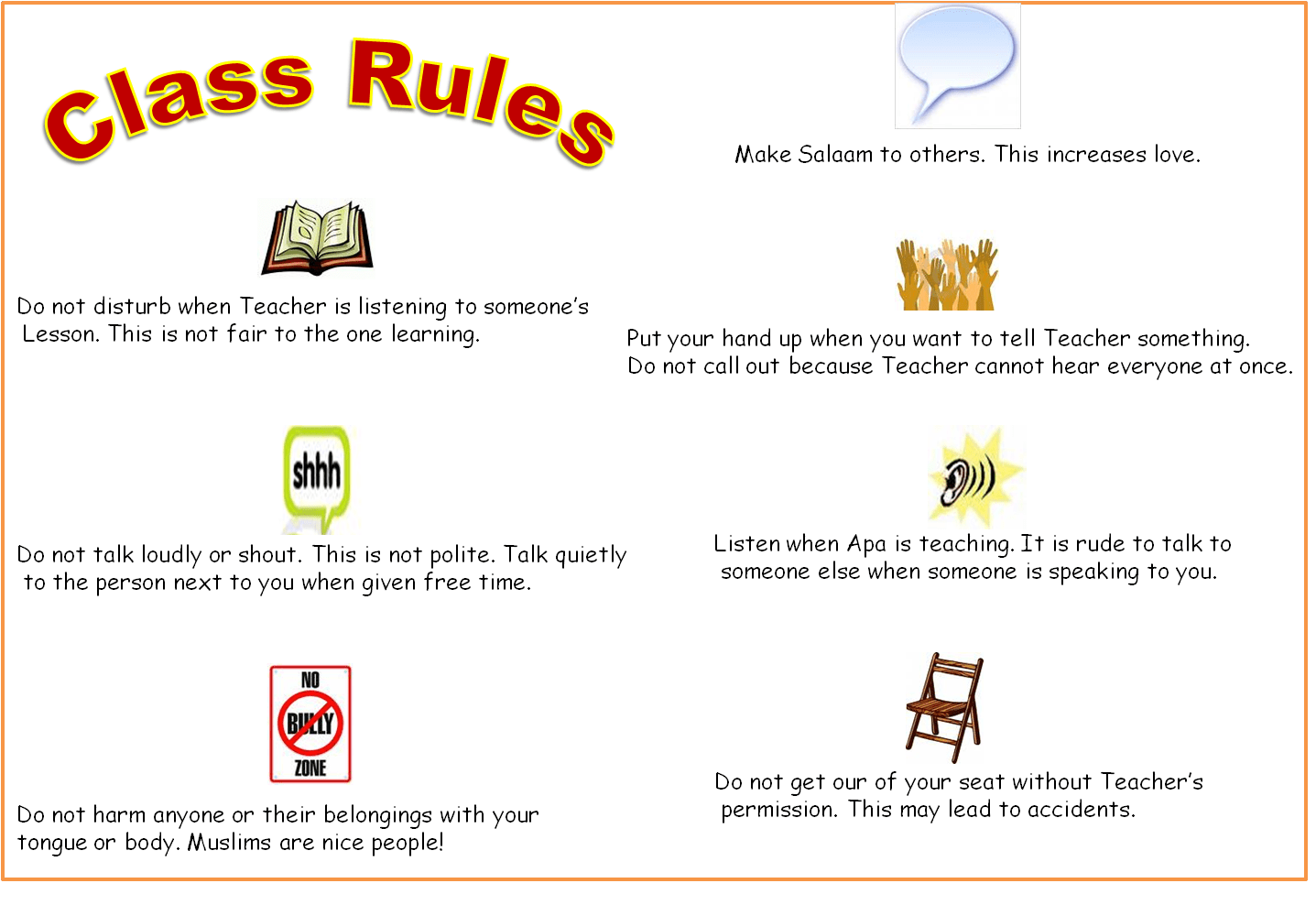 4 Best Images Of Classroom Rules Printable Template
