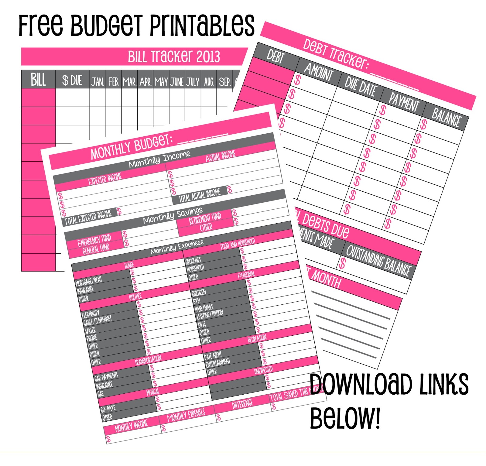 6 Best Images Of Free Printable Budget For Bills