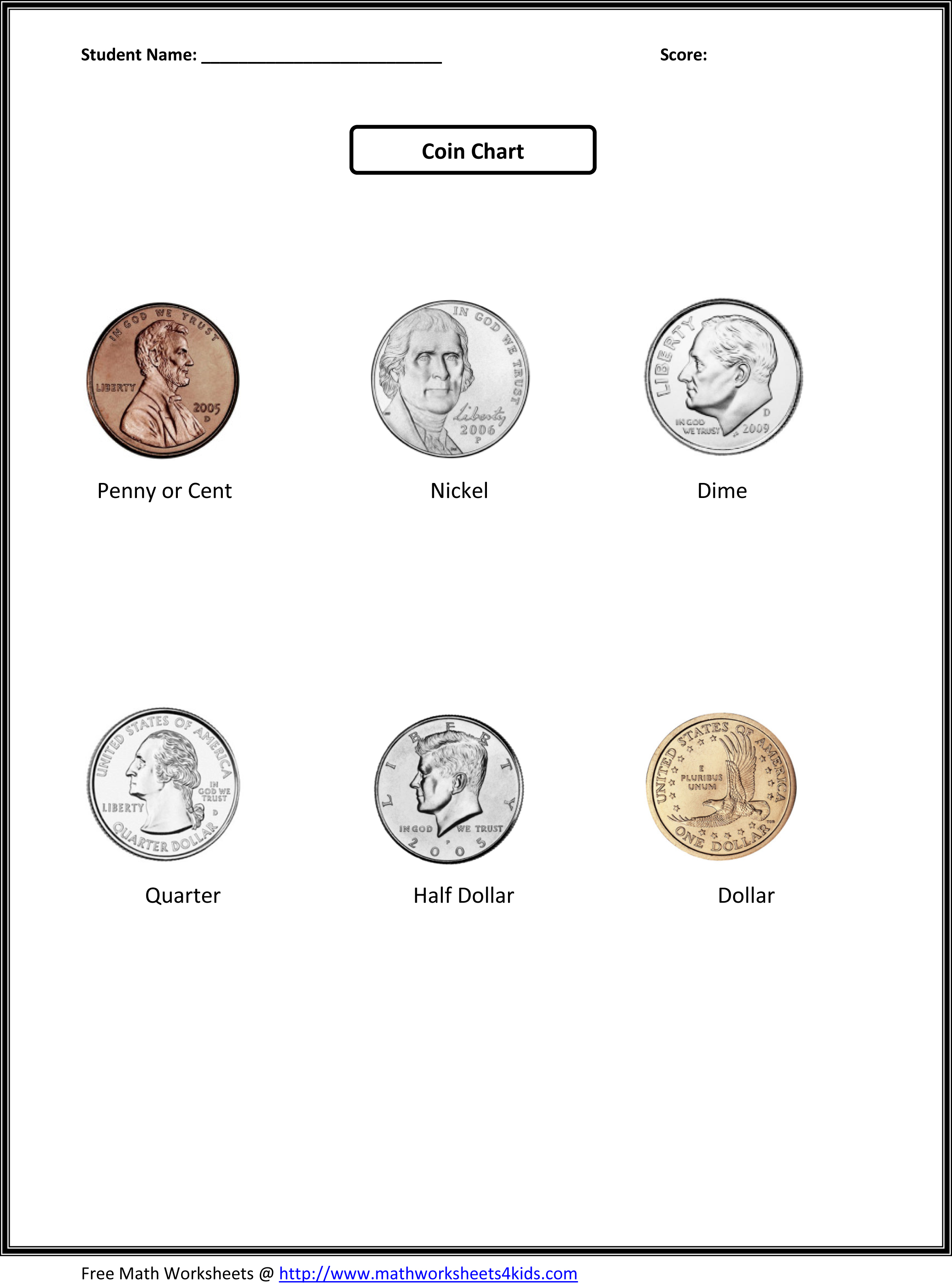 7 Best Images Of Free Printable Money Math Worksheets