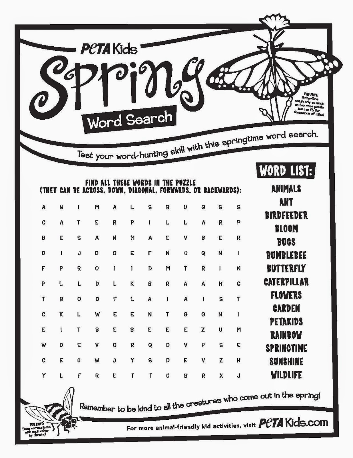 6 Best Images Of Spring Word Search Printable