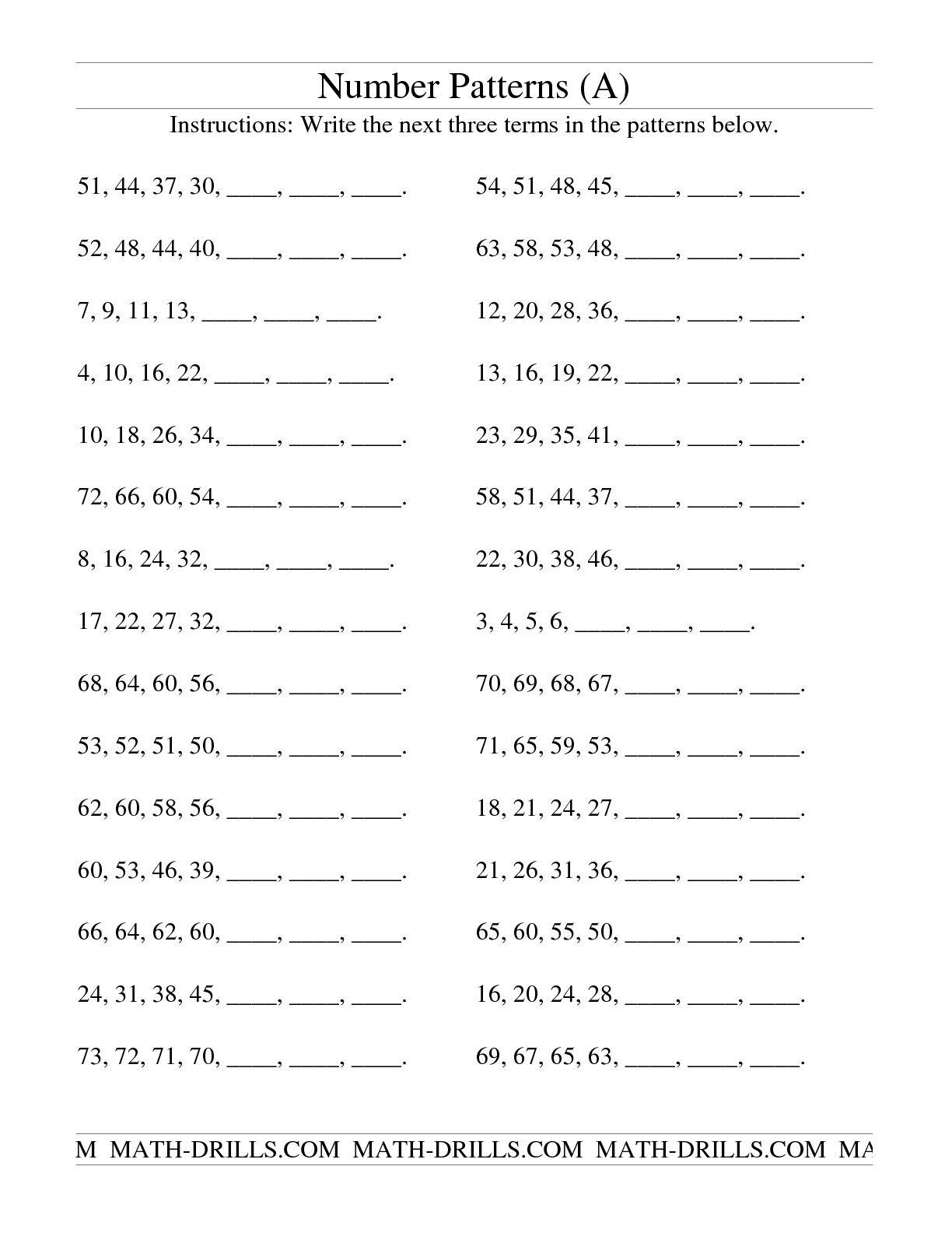 5 Best Images Of Second Grade Pattern Worksheets Printable