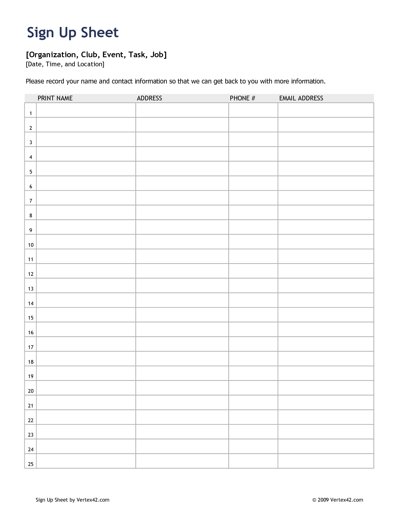 5 Best Images Of Sign In Sheet Template Printable