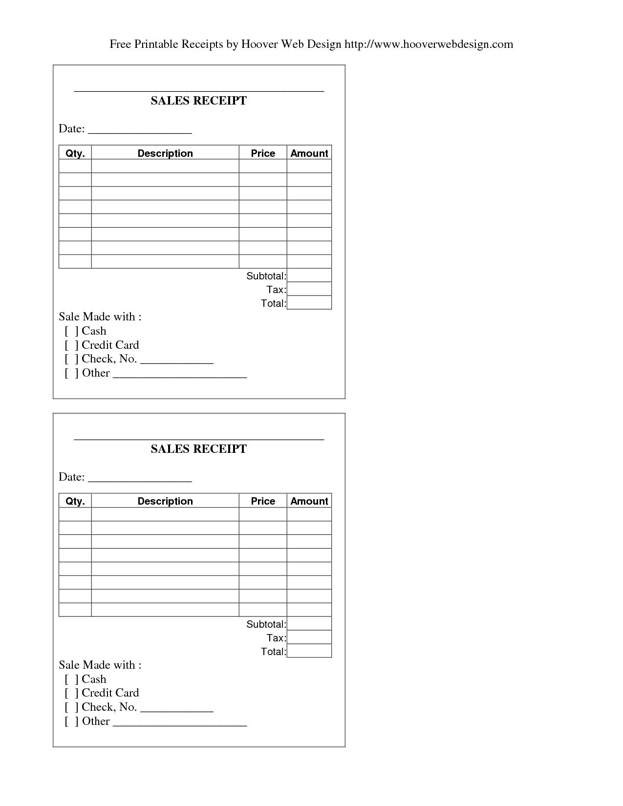 Doc709449 Printable Blank Receipt Free Receipt Forms 72 – Blank Receipt to Print