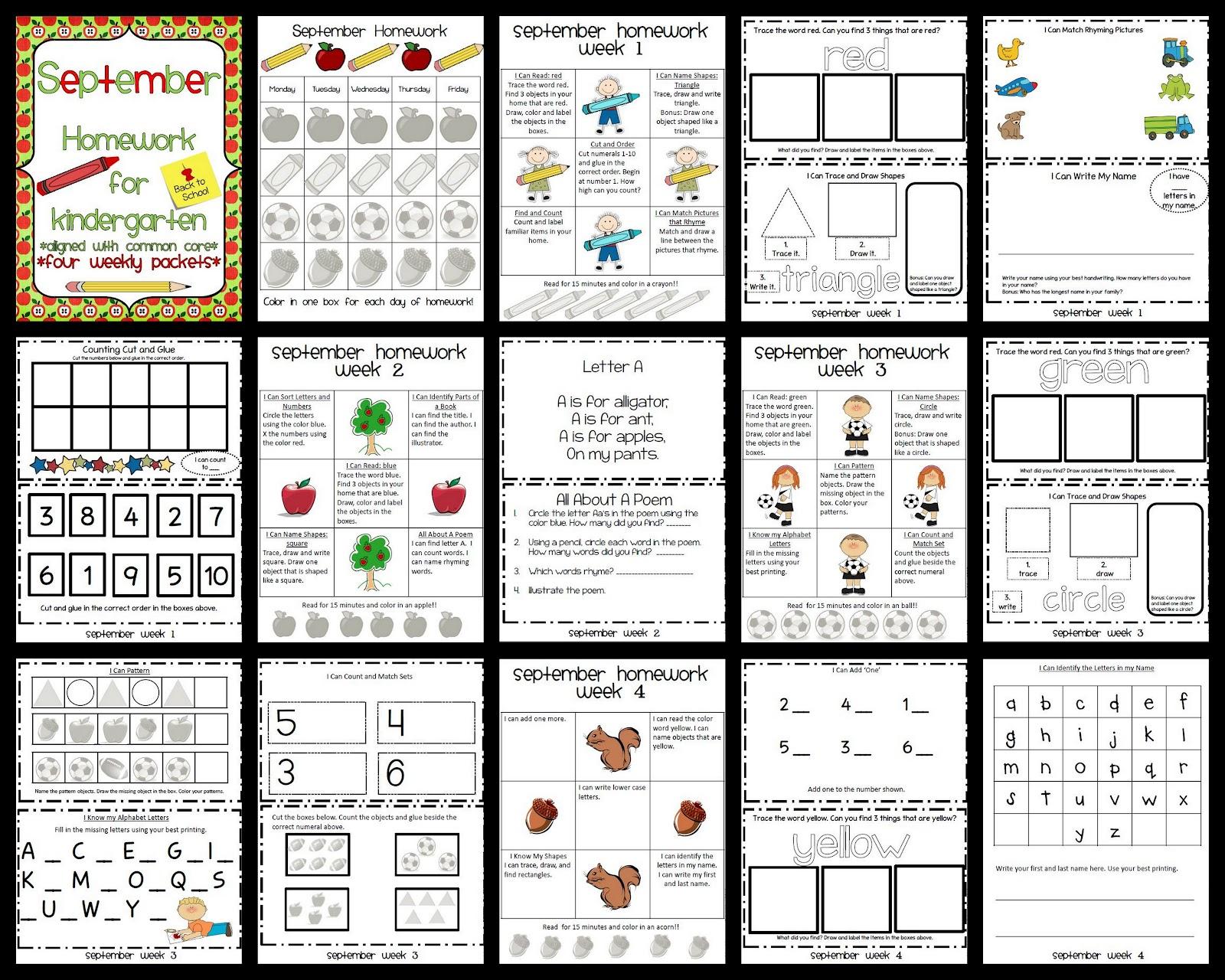 6 Best Images Of Kindergarten Homework Packet Printable