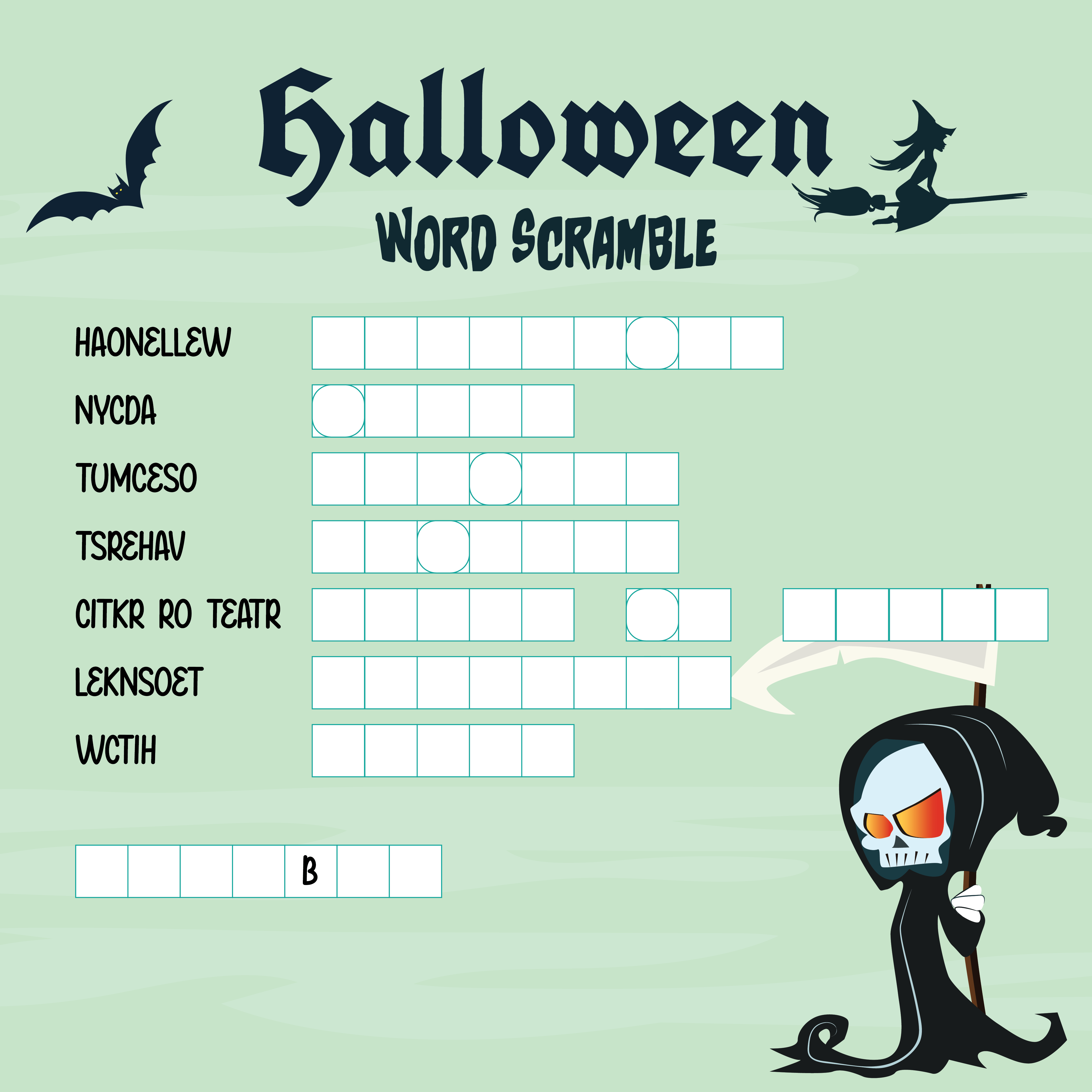 5 Best Images Of Halloween Unscramble Printable