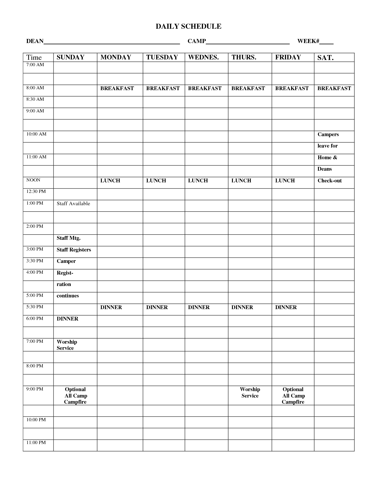 Free Printable Routine Schedules Daily