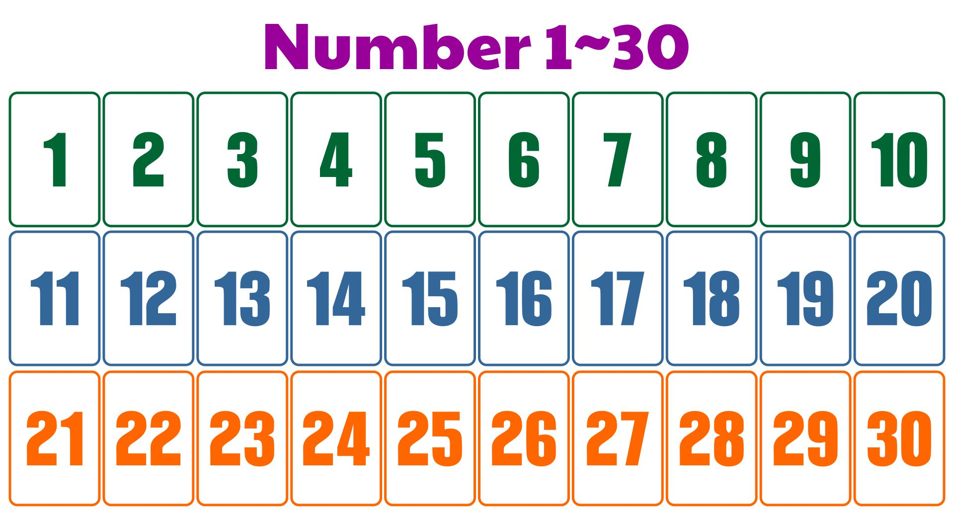 7 Best Images Of Printable Number Chart 1 30