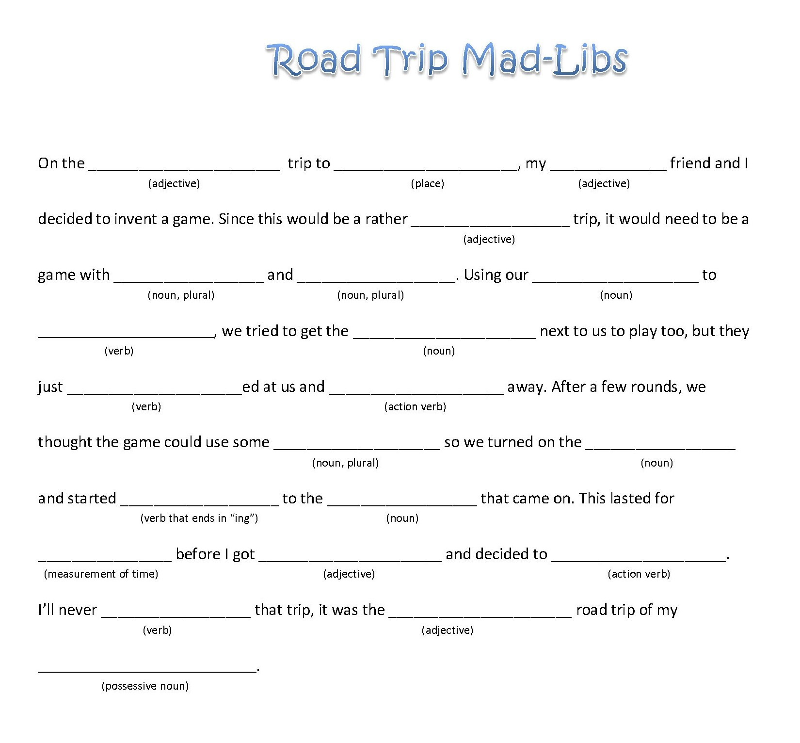 5 Best Images Of Blank Printable Mad Libs Adult