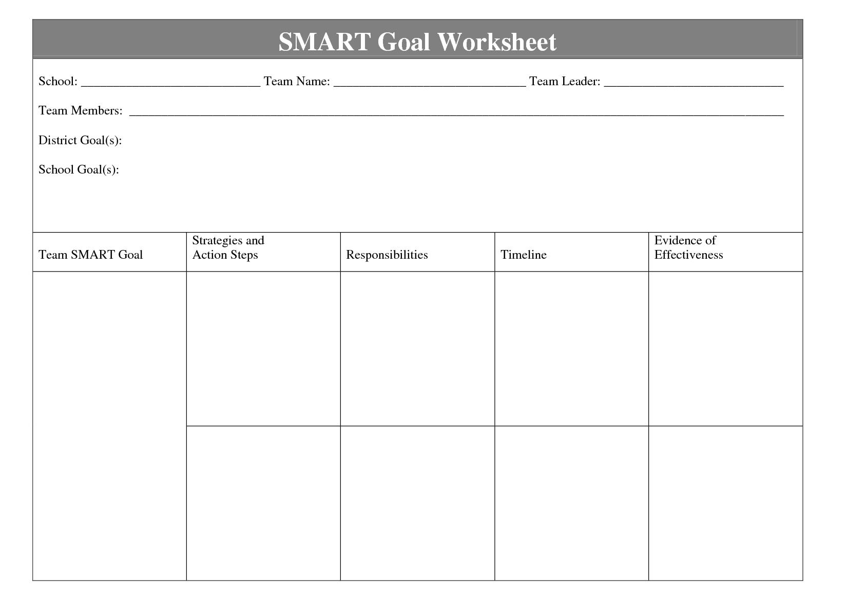 Printables Smart Goal Worksheet Tempojs Thousands Of