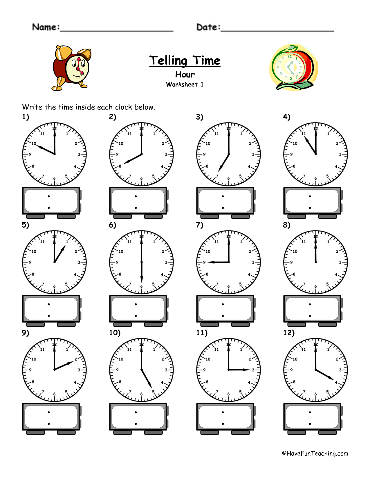 4 Best Images Of Printable Clock Worksheet Telling Time