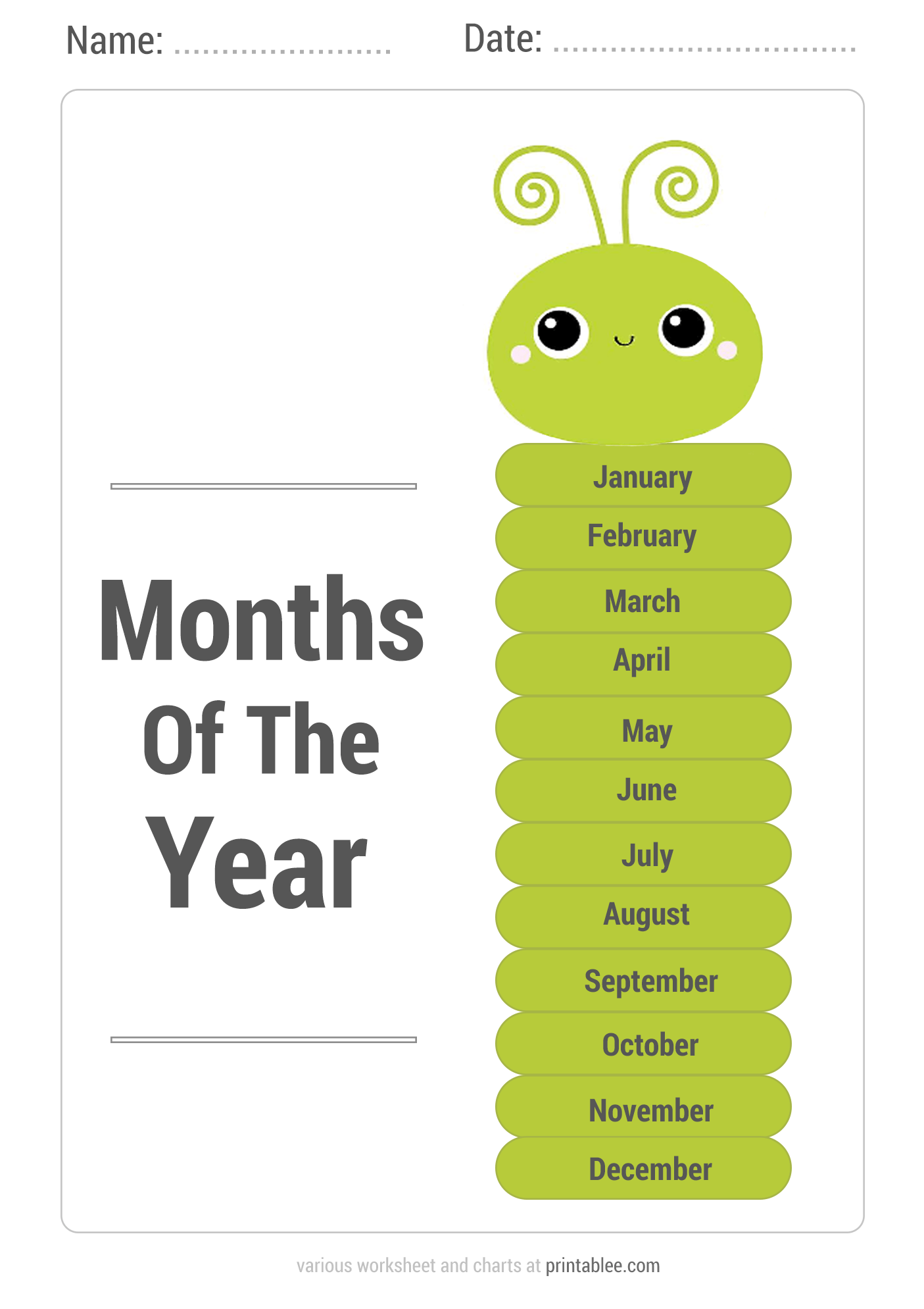 6 Best Free Printable Months Of The Year Chart