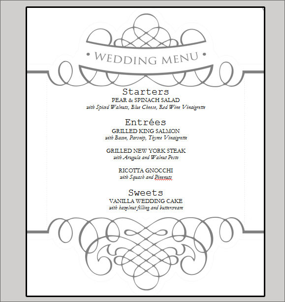 Sample Wedding Menu Cards Templates - Wedding Invitation Sample