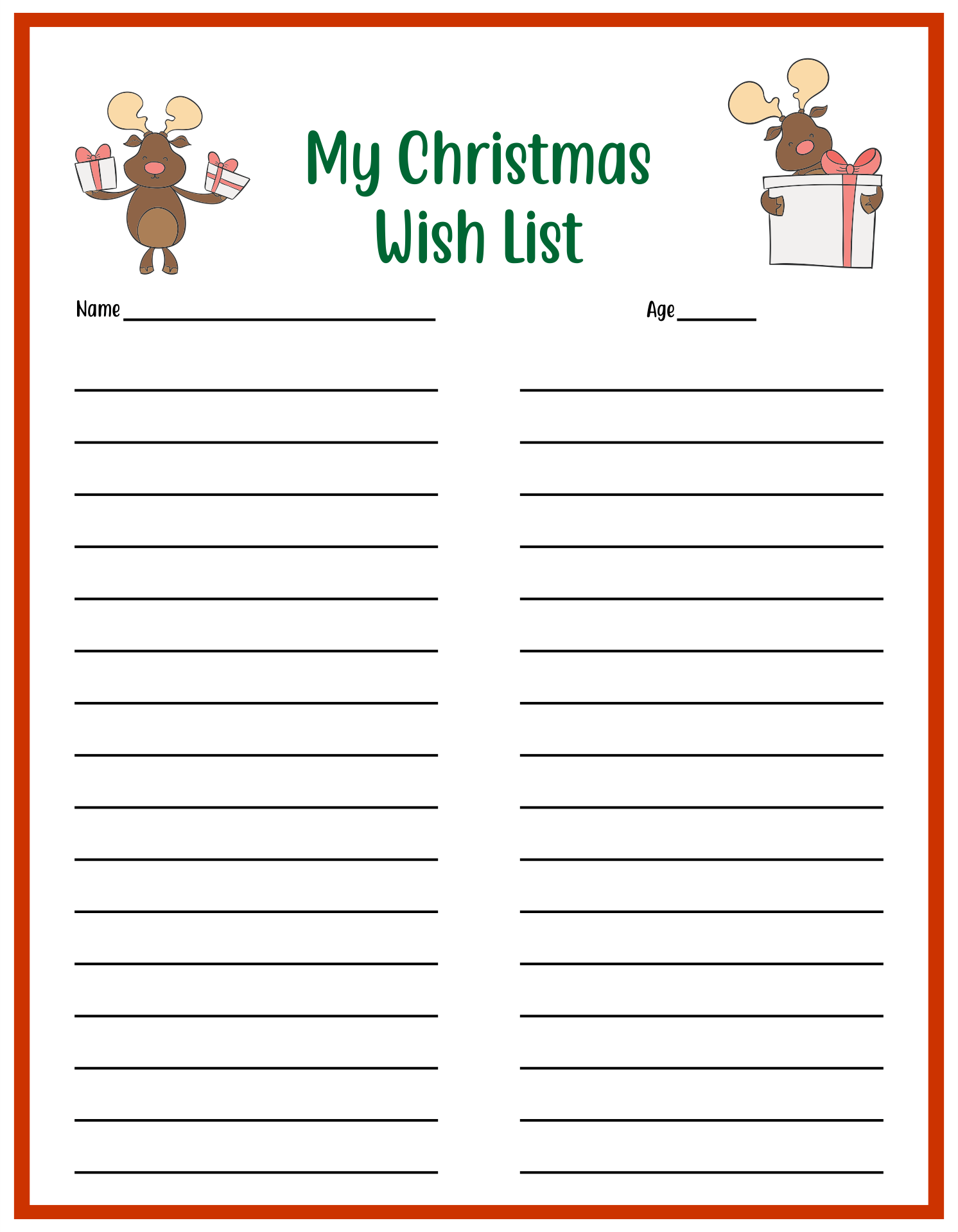 Wish List Templates phone number list template free printable – Free Printable Christmas Wish List Template