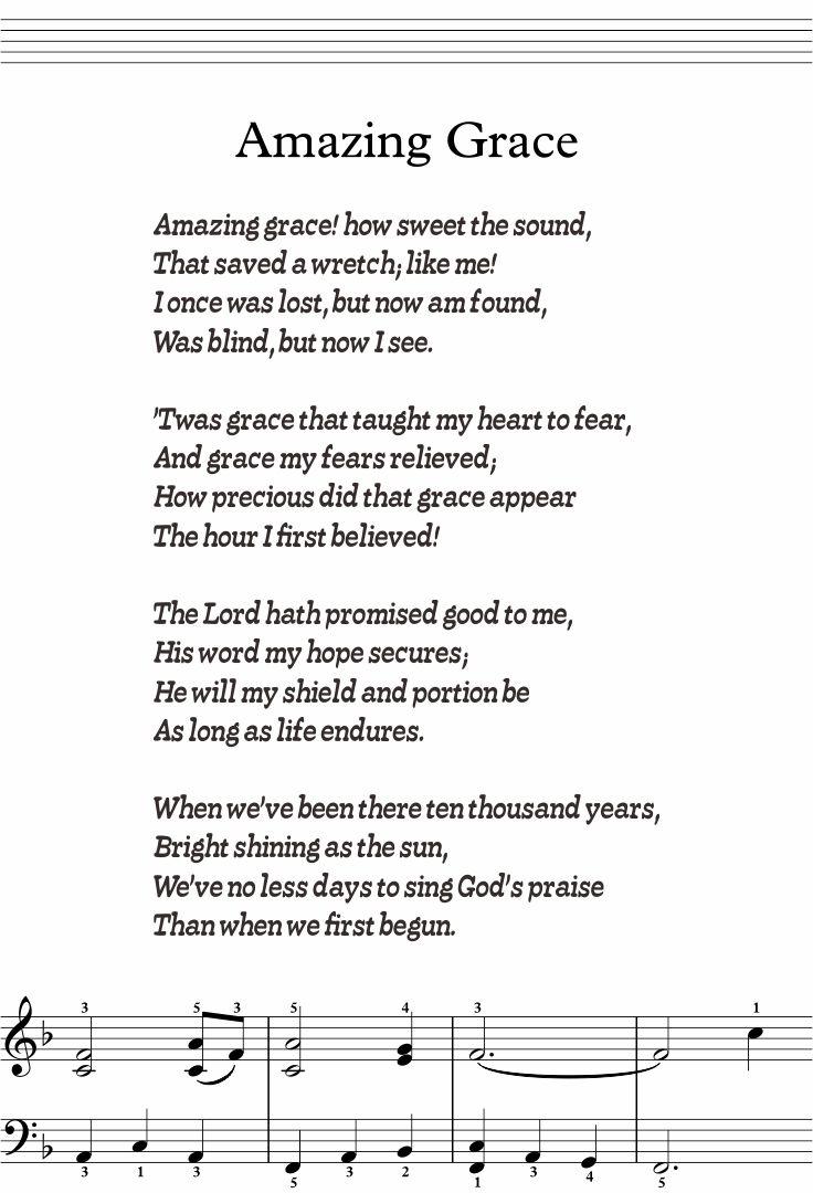 5 Best Images Of Amazing Grace Lyrics Printable
