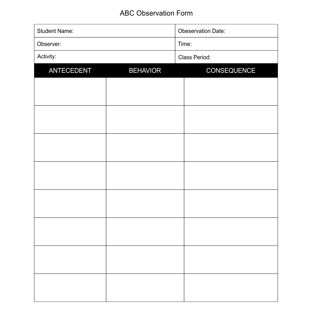 7 Best Images Of Printable Observation Forms