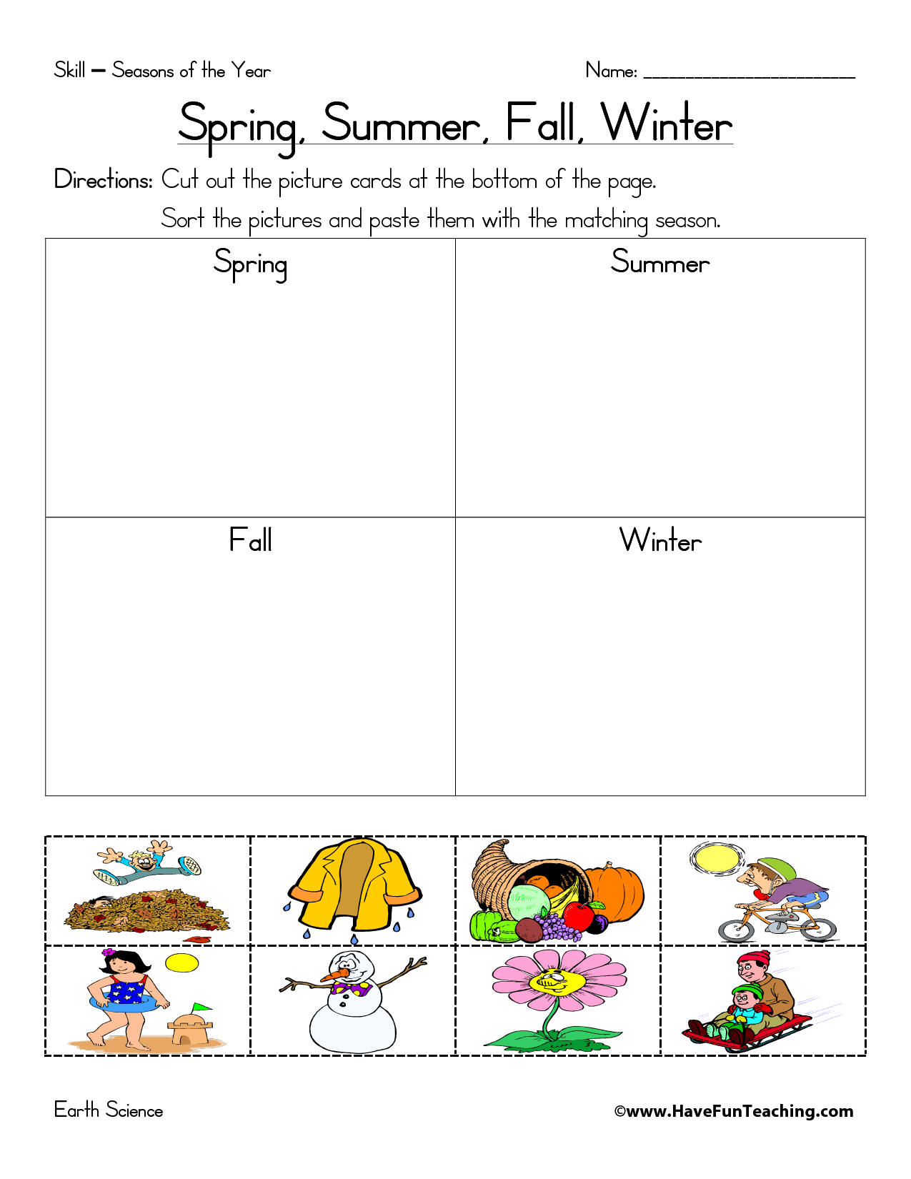 Seasons Worksheet Italian