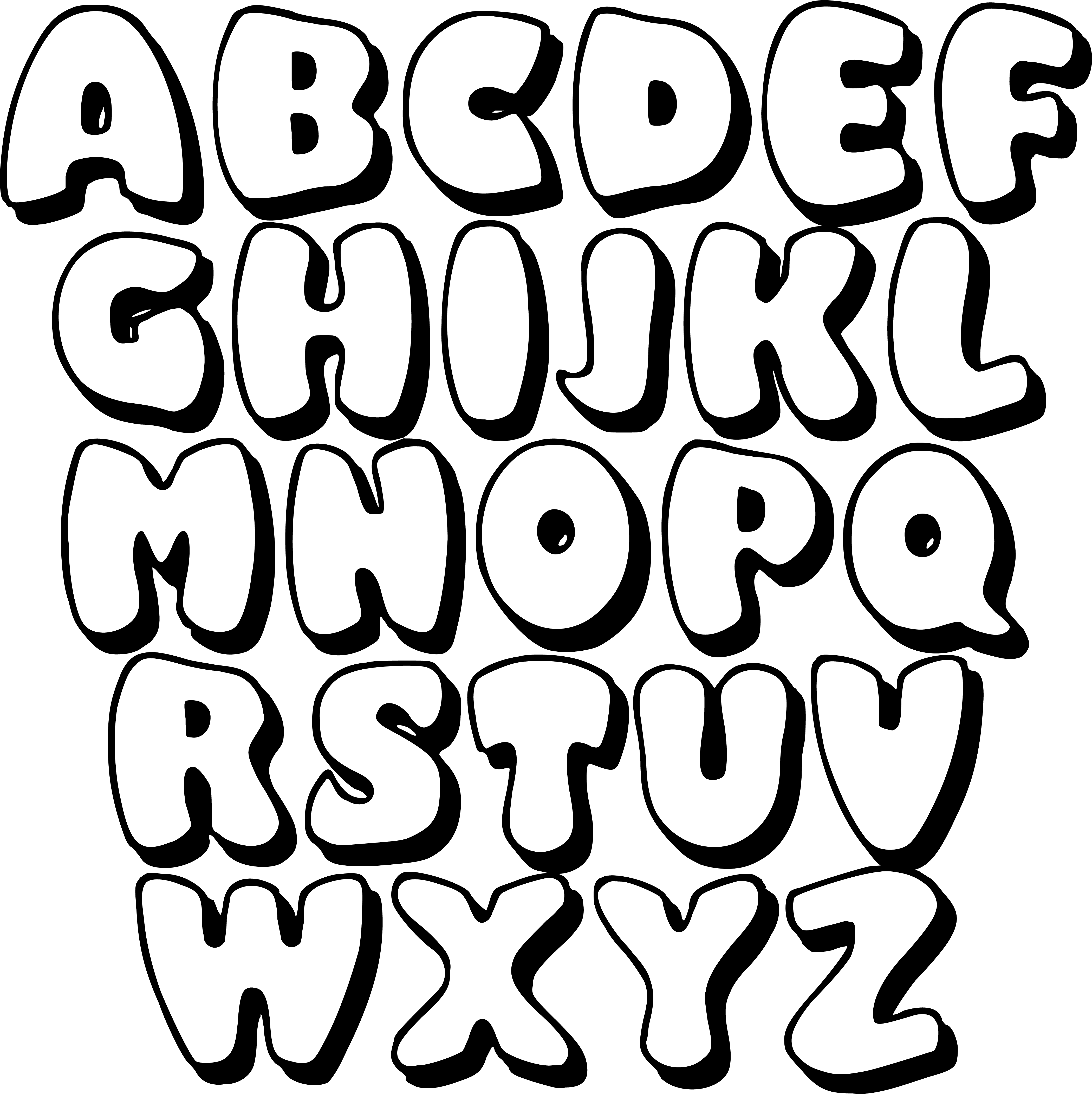 Large Printable Bubble Letters Free