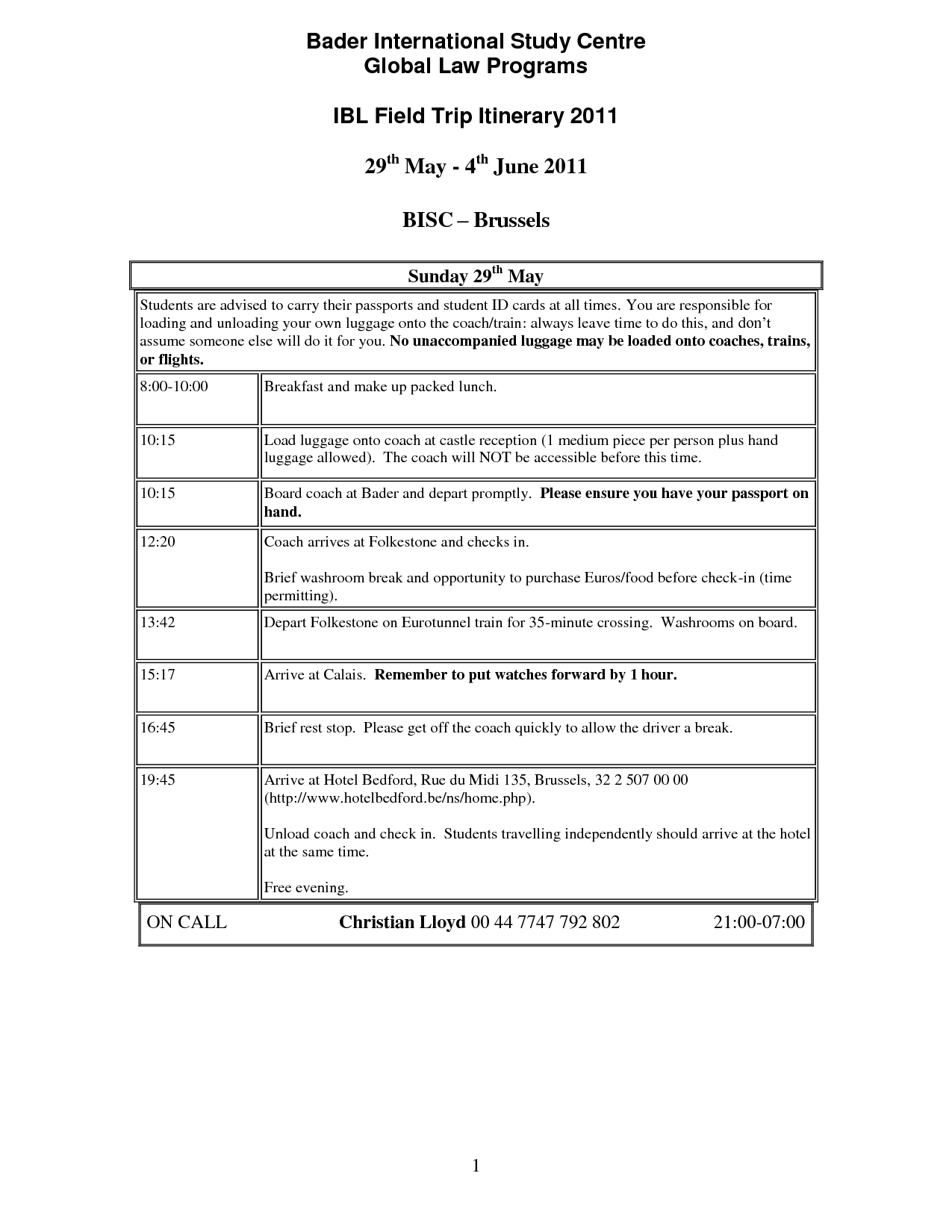 Printable Travel Itinerary Template