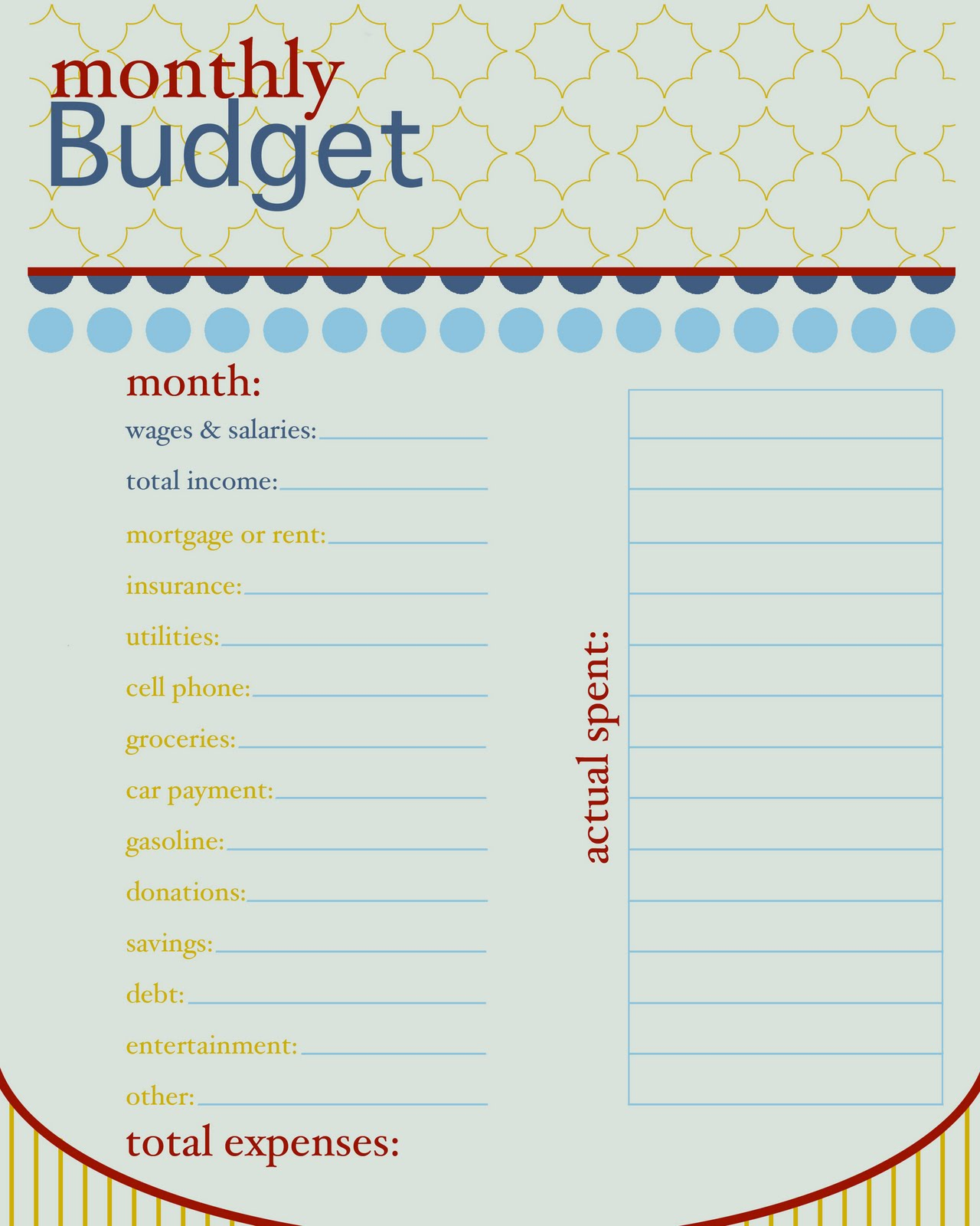 5 Best Images Of Free Printable Budget Worksheet Template